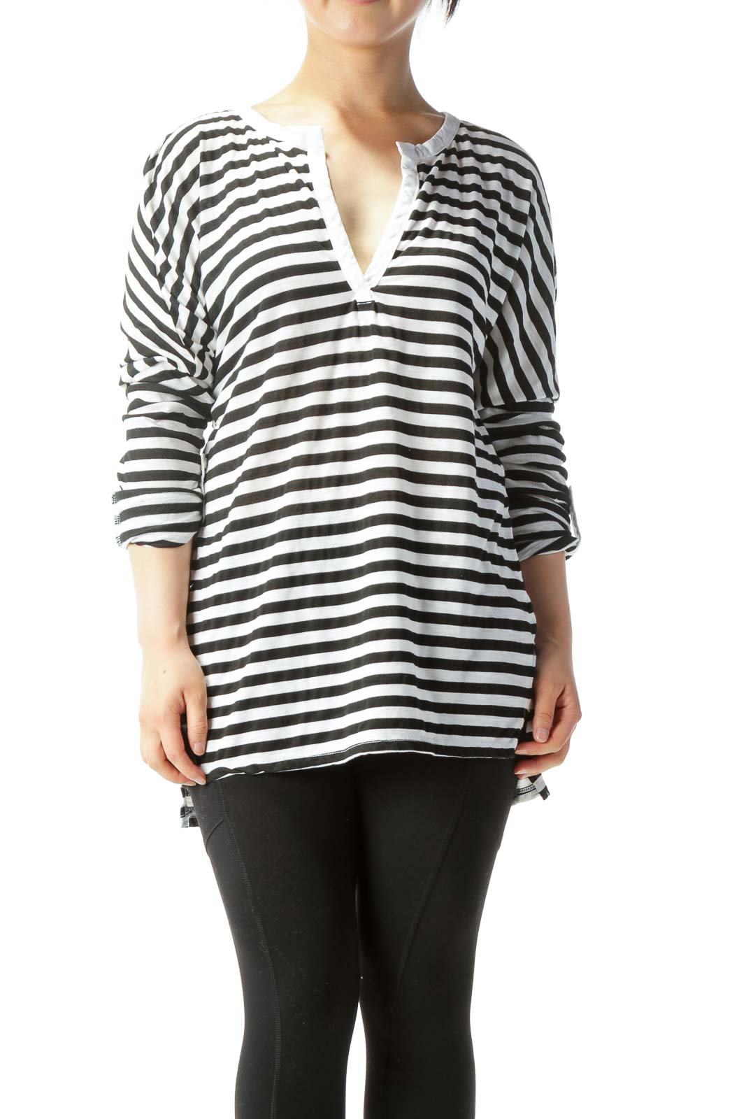 White & Black Striped Long-Sleeve Rolled-Cuff Knit Top