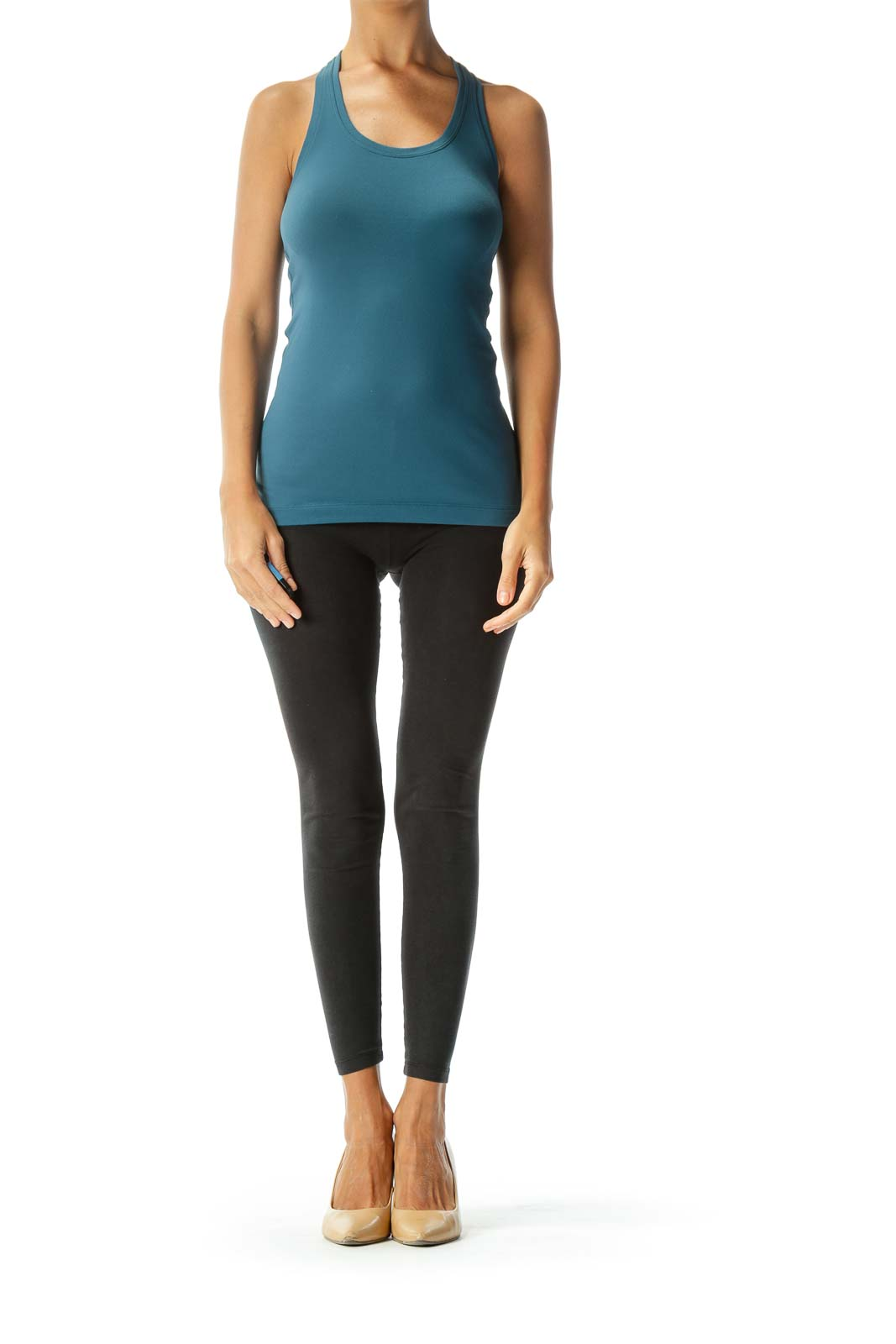 Teal Racer-Back Fitted Yoga Tank