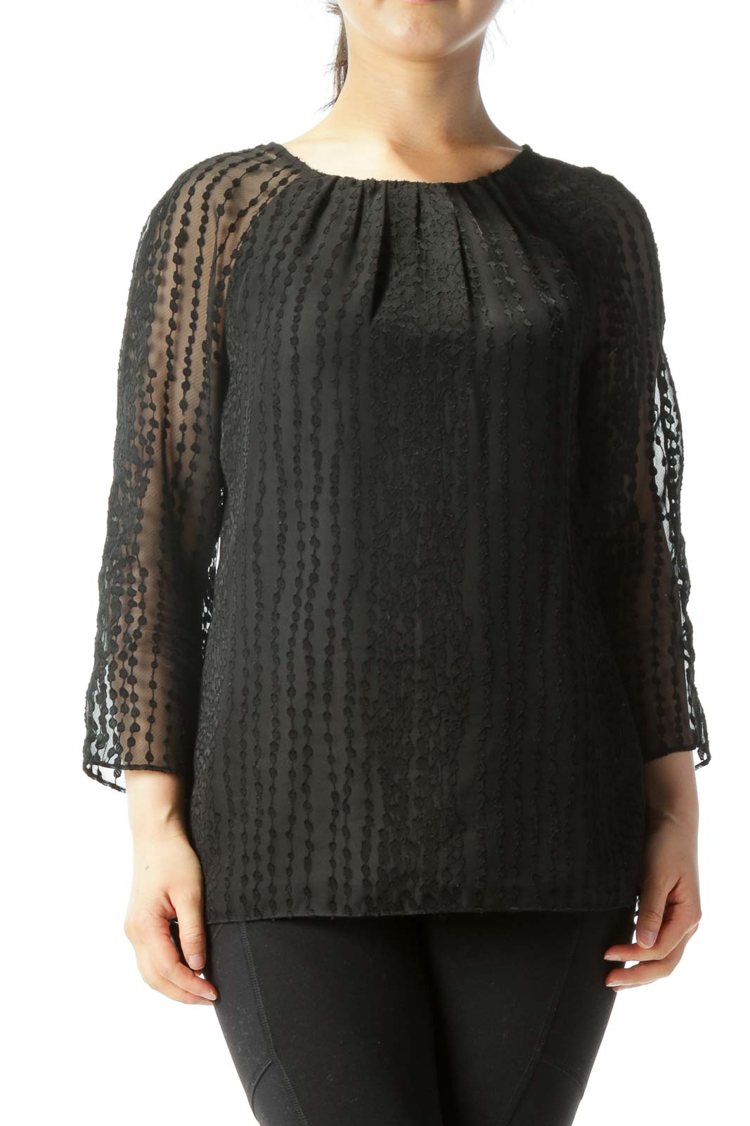 Black Translucent-Sleeve Lined Embossed-Pattern Blouse