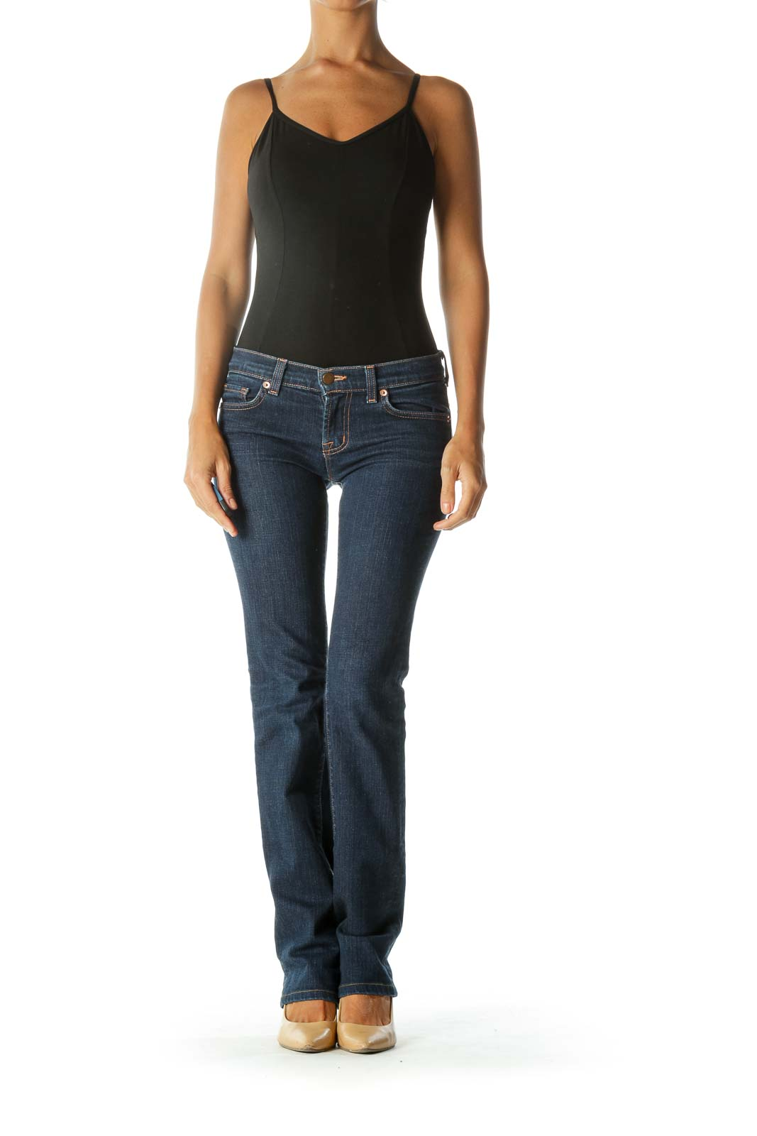 Blue Mid-Rise Straight Leg Jeans