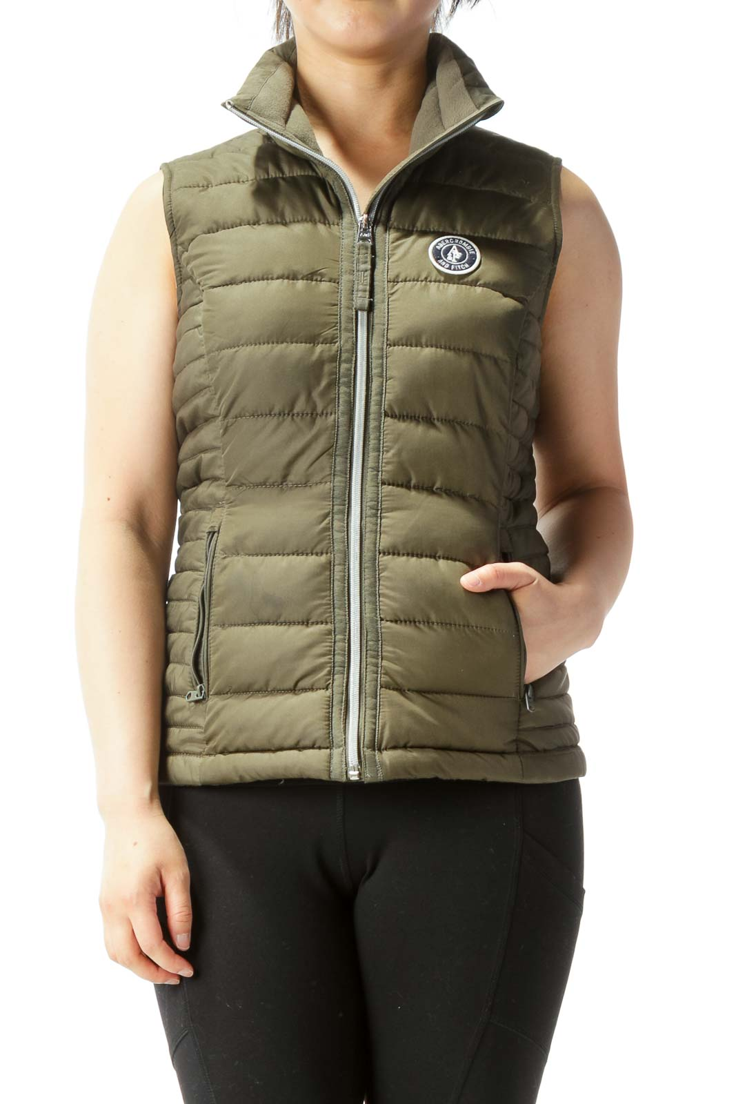Olive Green Padded Quilted Zipper Pockets Vest