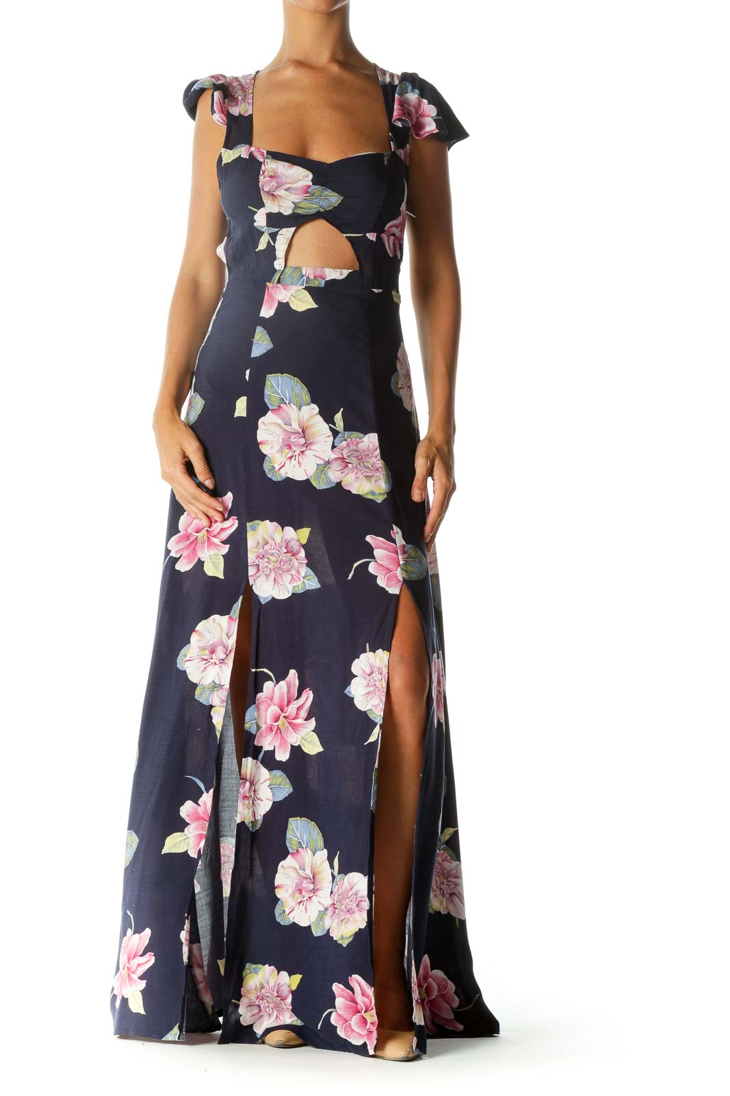 Navy Blue Pink Yellow White Floral Print Cut-Out Leg-Opening Day Dress