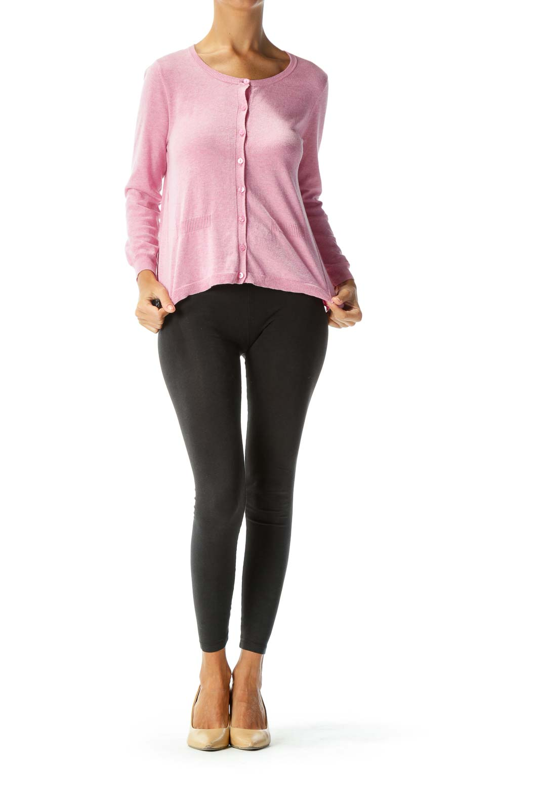 Pink Button-Down Light-Weight Cardigan