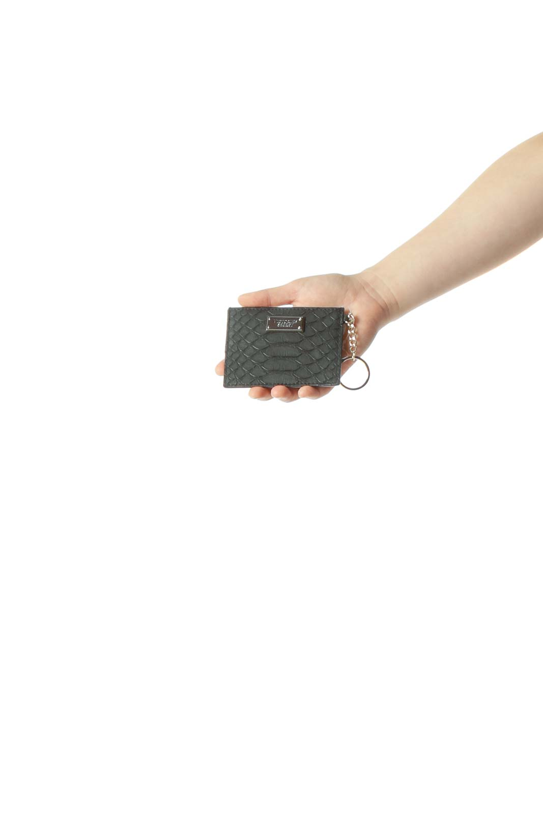 Black Crocodile Texture Card Holder with Gold Keychain