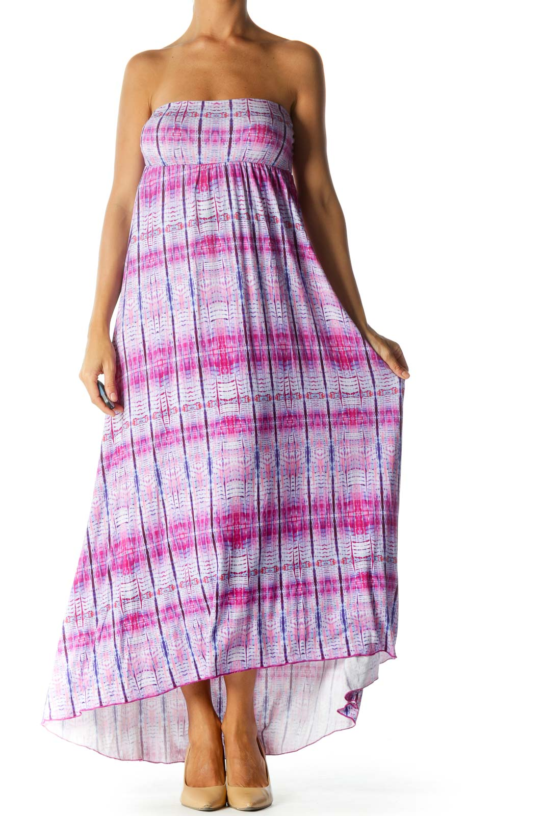 Purple Blue Print Strapless Empire Stretch Maxi Dress