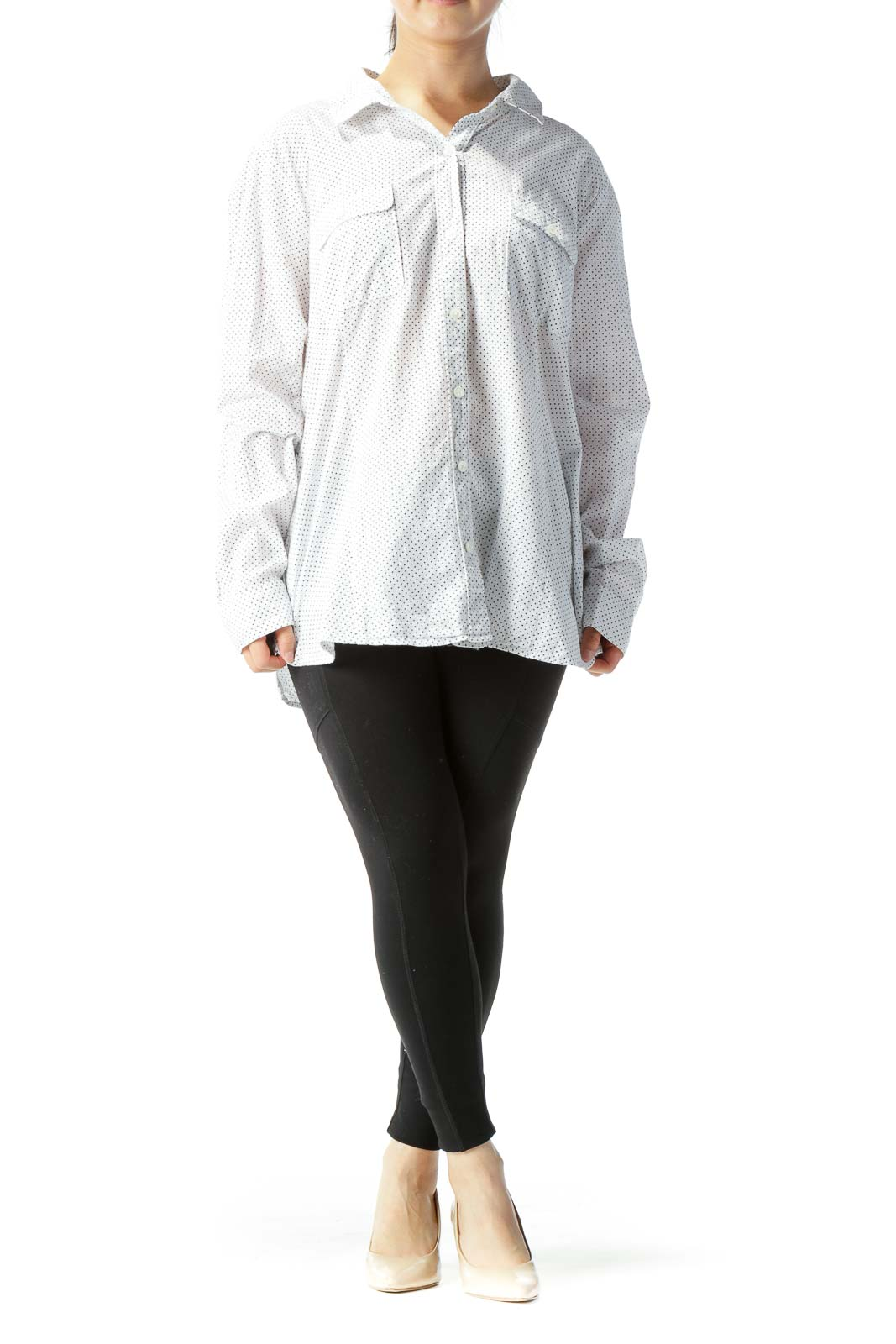 White & Black Polka-Dot Button-Down Long-Sleeve Blouse