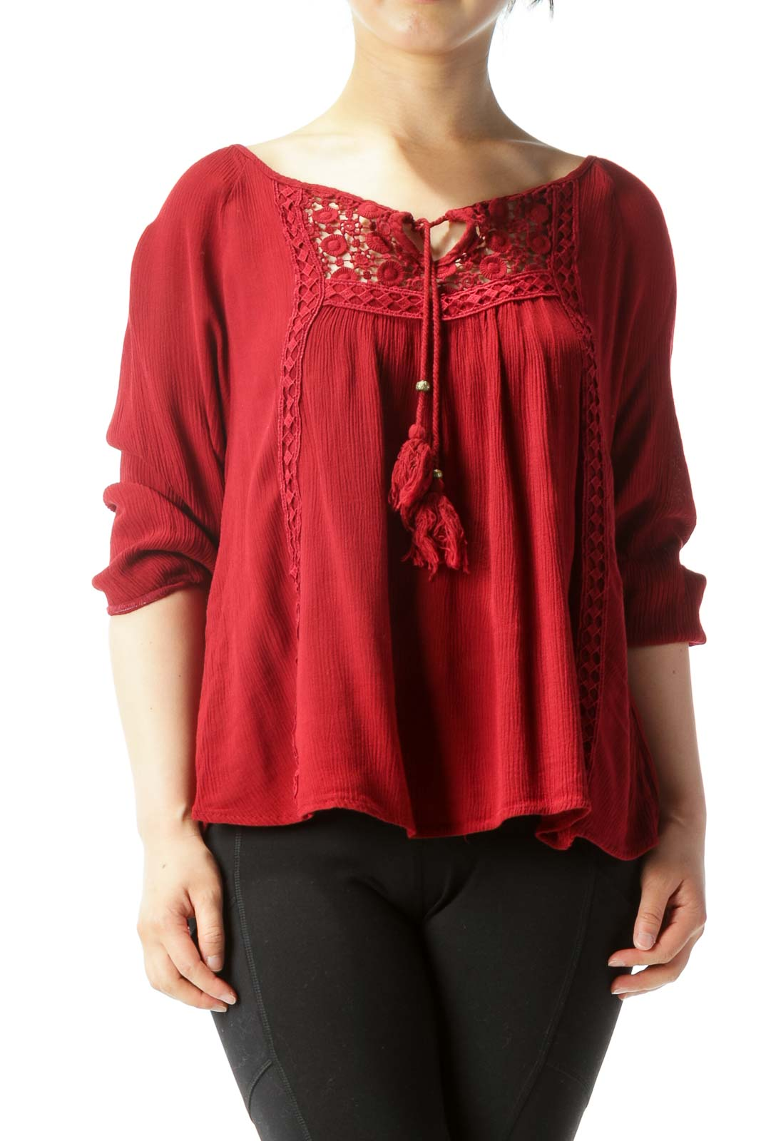 Burgundy Lace-Detailed Chest-Tie Long-Sleeve Blouse