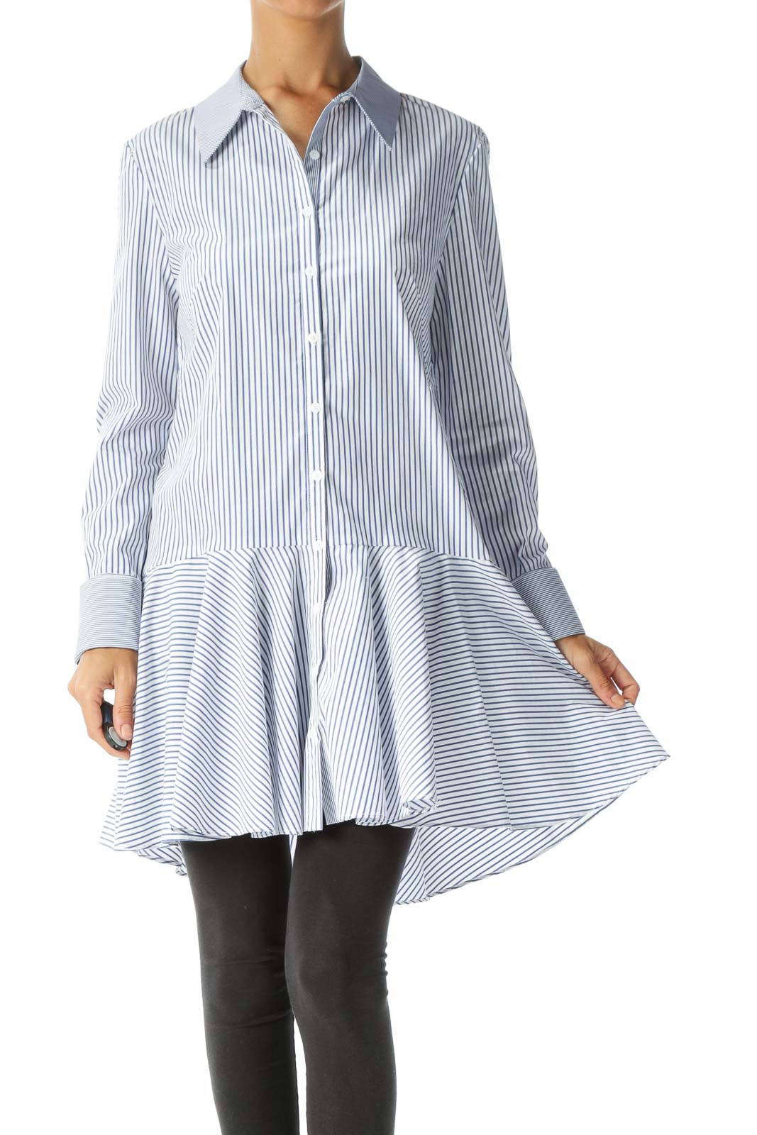 Blue White Striped Long Sleeve Flared Detail Shirt