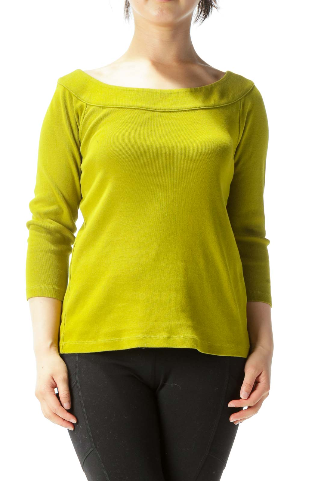 Olive Boat-Neck 3/4-Sleeve Knit Top