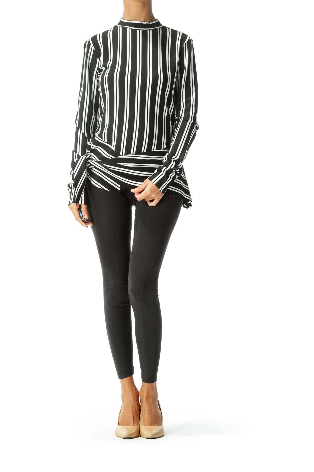 Black White Striped Asymmetric Long Sleeve Knit Top