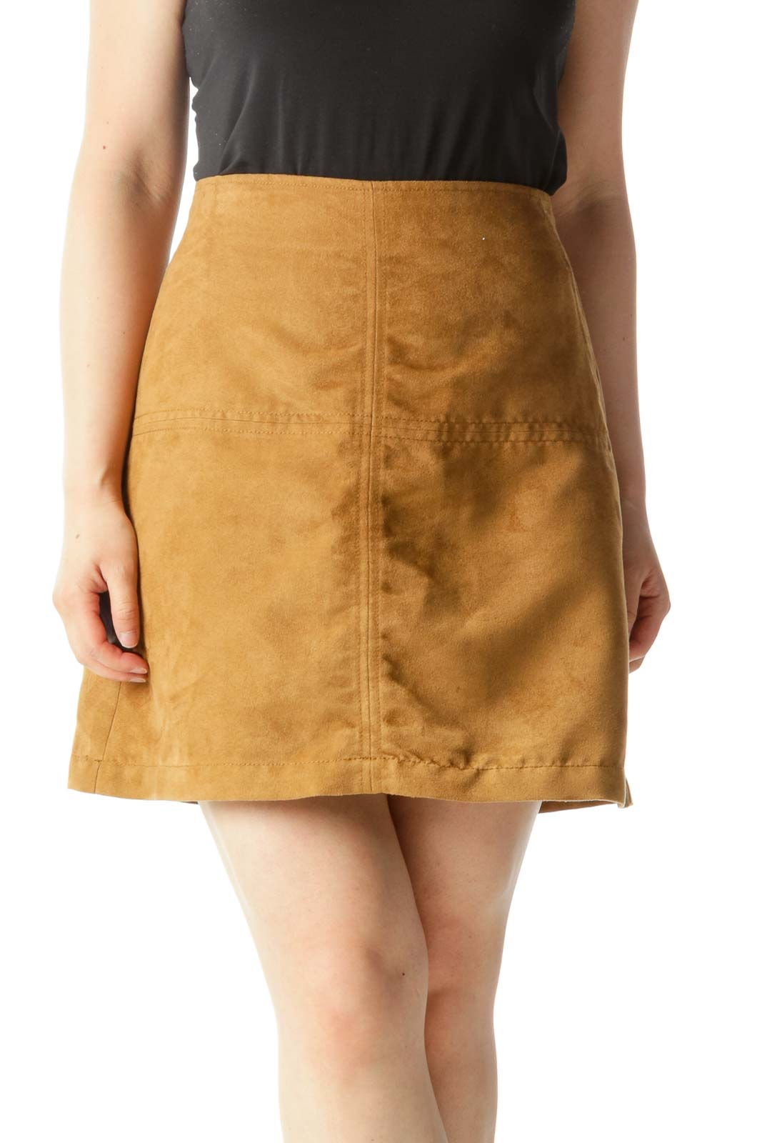 Tan Faux-Suede A-Line Mini Skirt