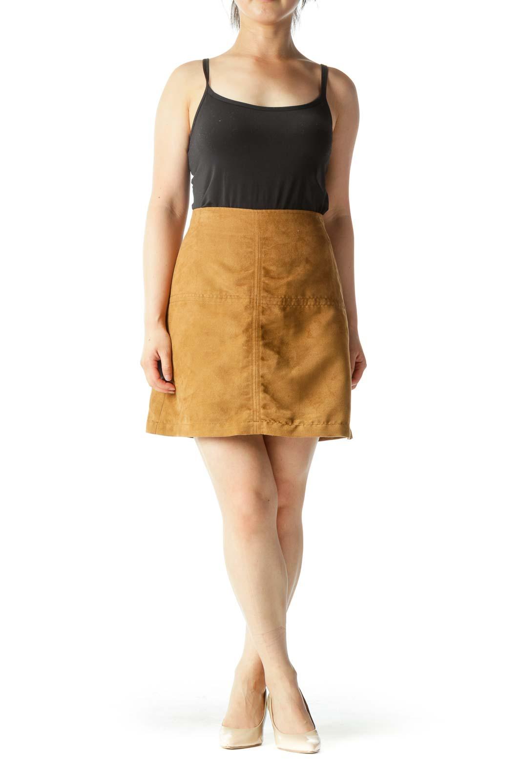 Tan Faux-Suede A-Line Mini Skirt
