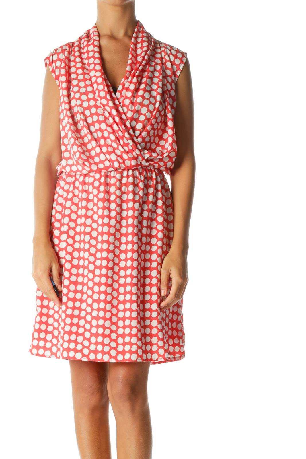 Red White Print Sleeveless Surplice Elastic Waist Day Dress