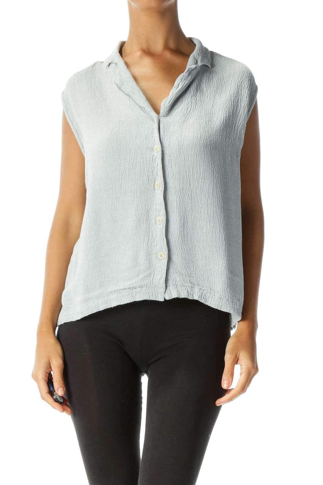 Green & White Sleeveless Textured Button-Up Blouse