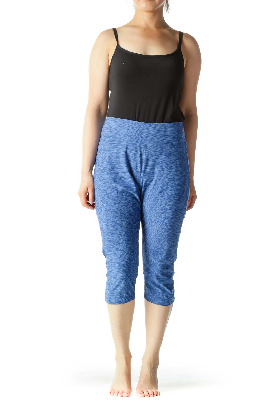 Blue Mottled Print Cropped Sports Pants