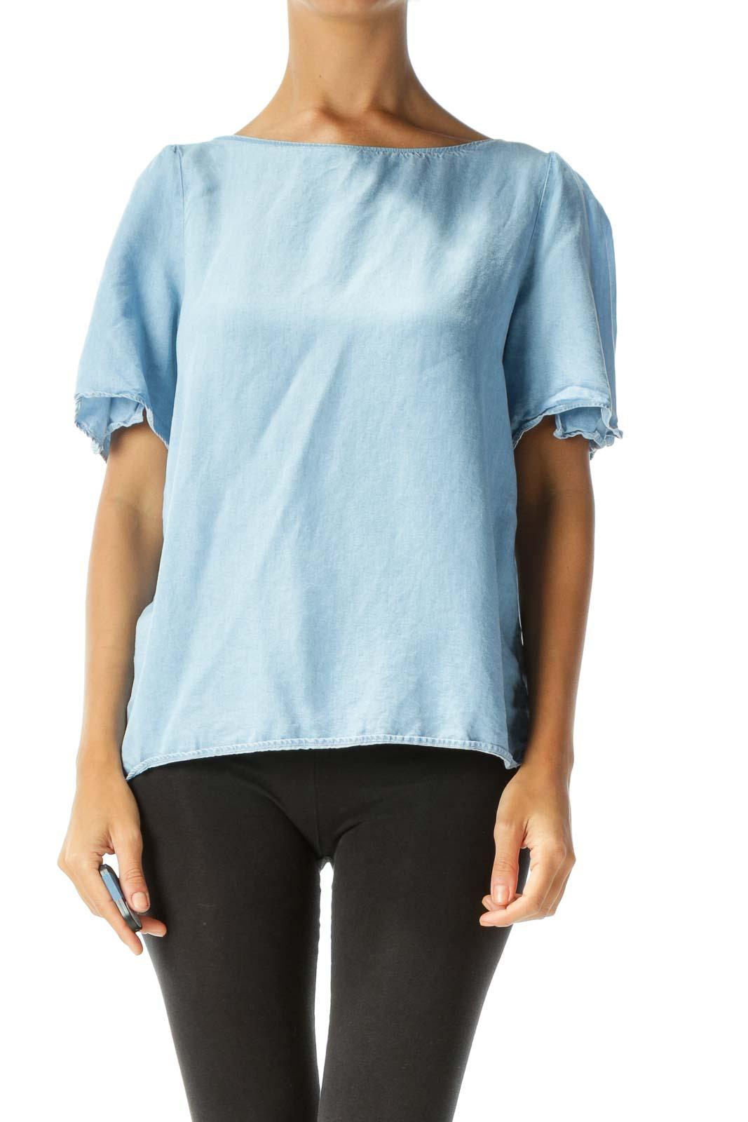 Blue Mock-Denim Slitted-Sleeves Back-Tie Blouse