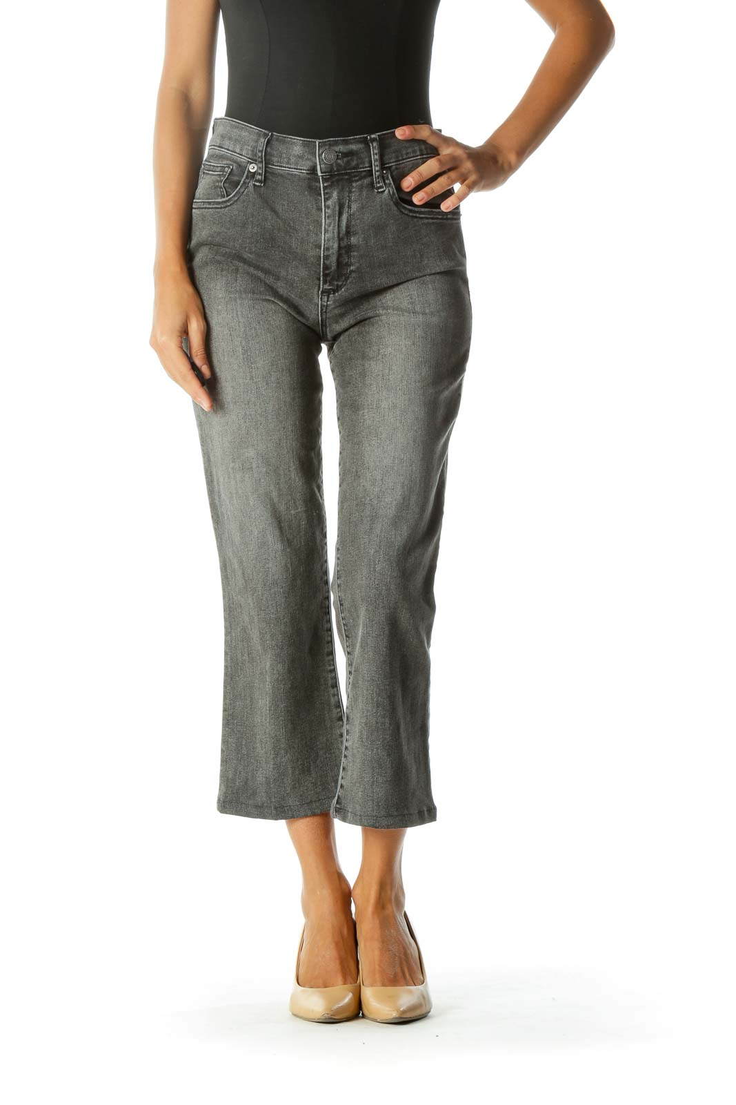 Charcoal High-Rise Cropped Flare Jeans