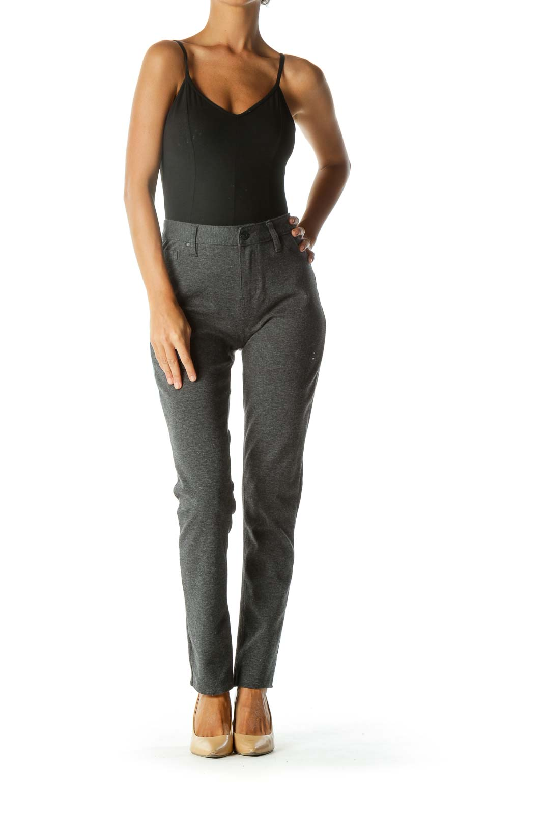 Gray Knit Faux-Pockets Slim Knit Pants