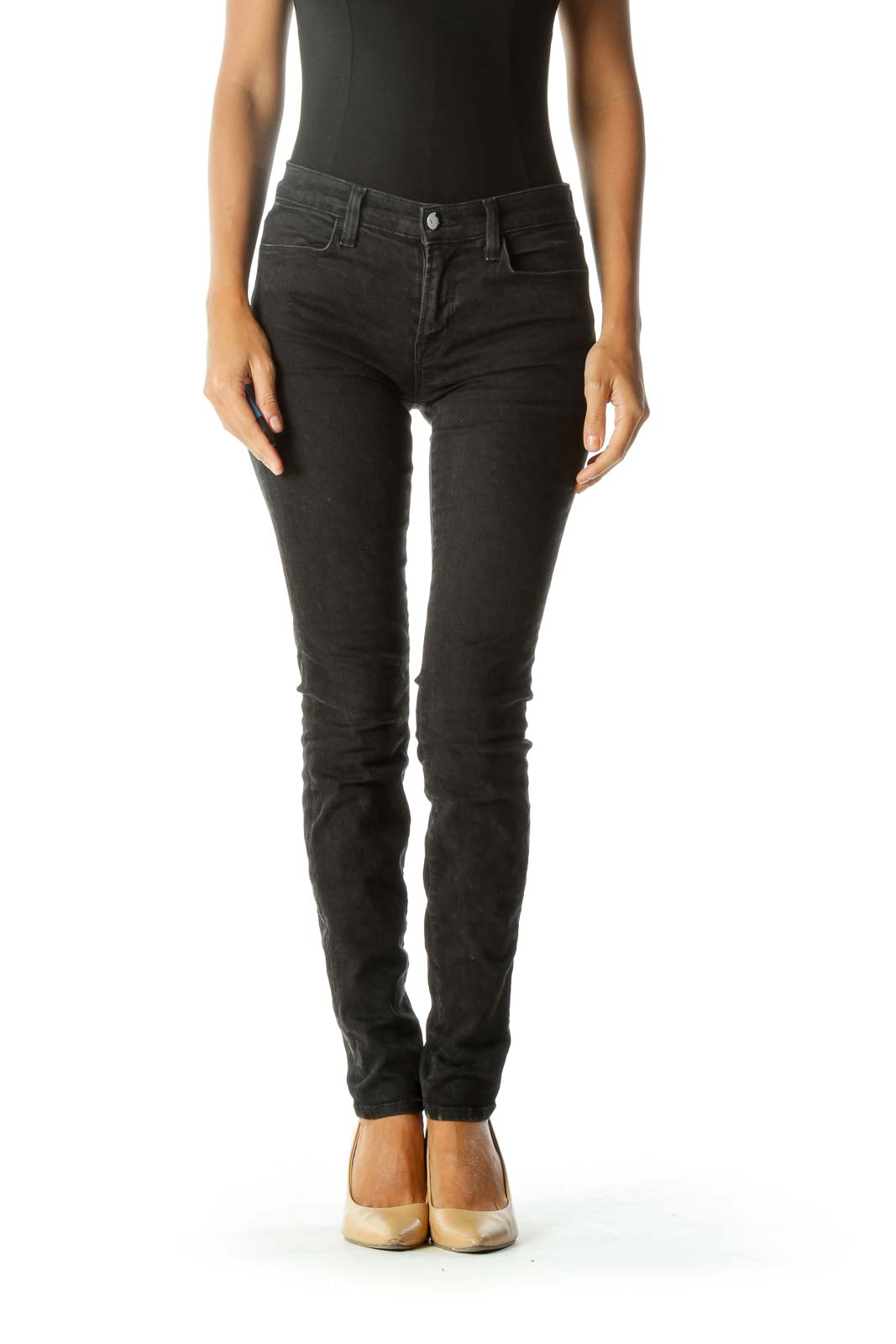Black Leopard-Print Super Skinny Jeans with Silver Engraved Button