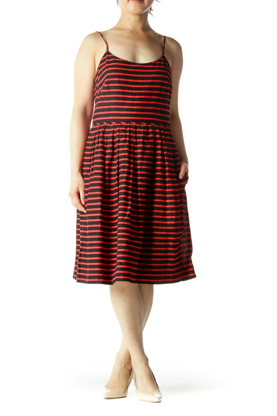 Red Black Linen Cotton Striped Spaghetti Strap Pocketed Dress