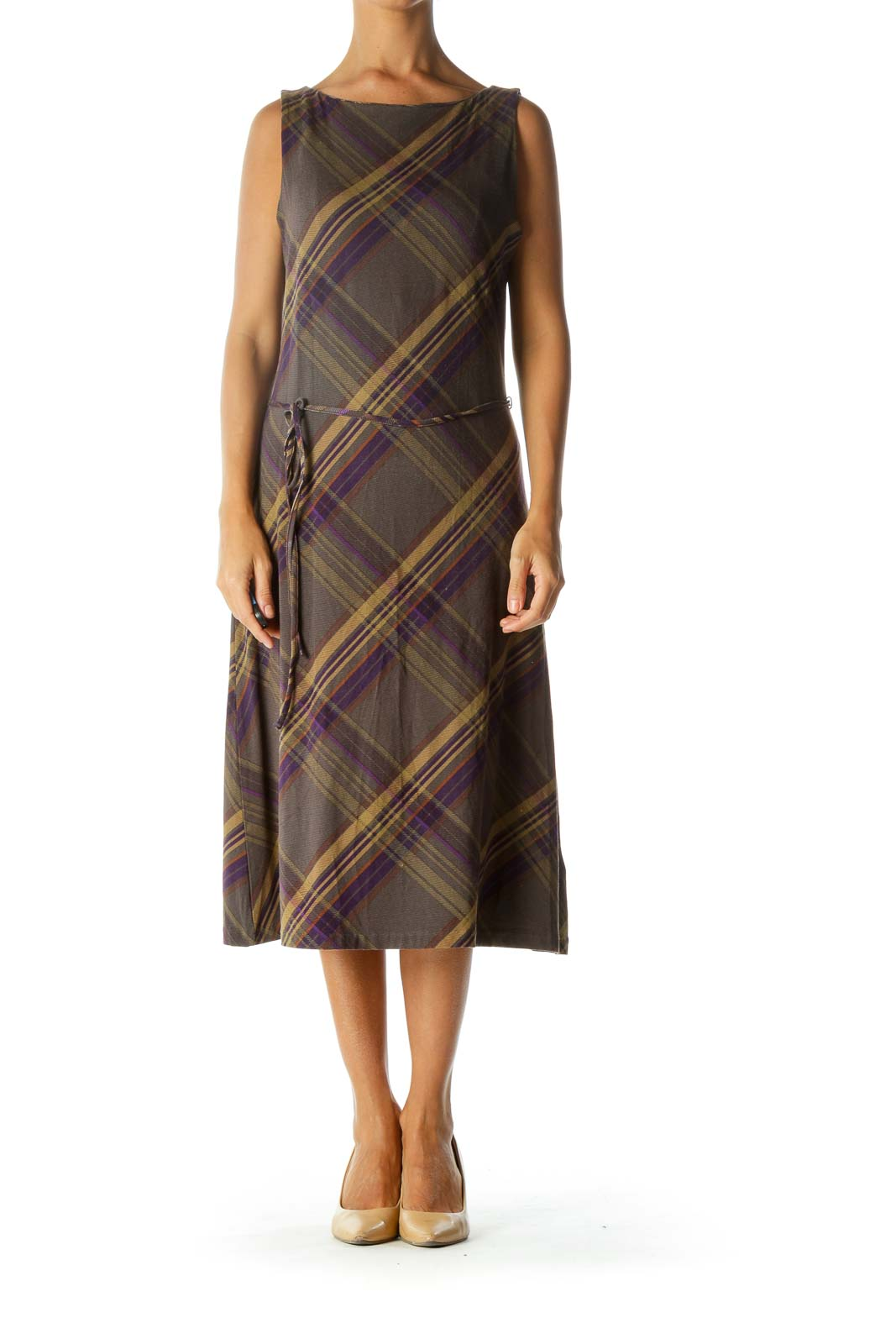 Gray Purple Yellow Orange Plaid Boat Neck Belted Stretch Dress