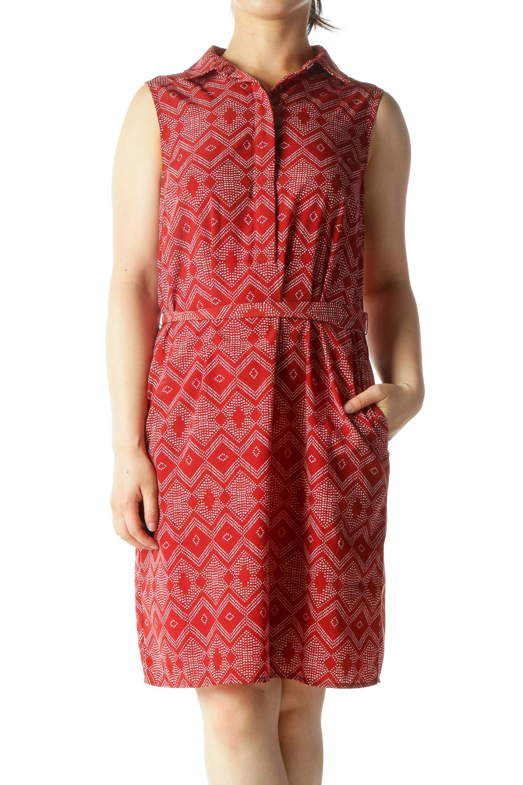 Burnt Red Sleeveless Dotted Print-Shape Buttoned Belted Day Dress
