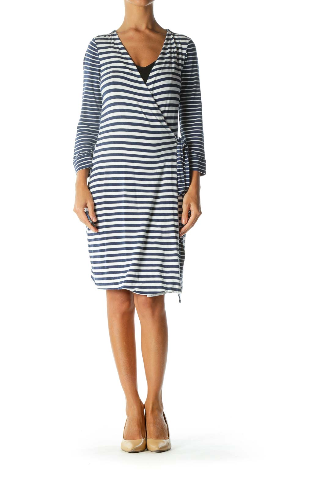 Blue White Striped Long Sleeve Wrap Stretch Light Jacket