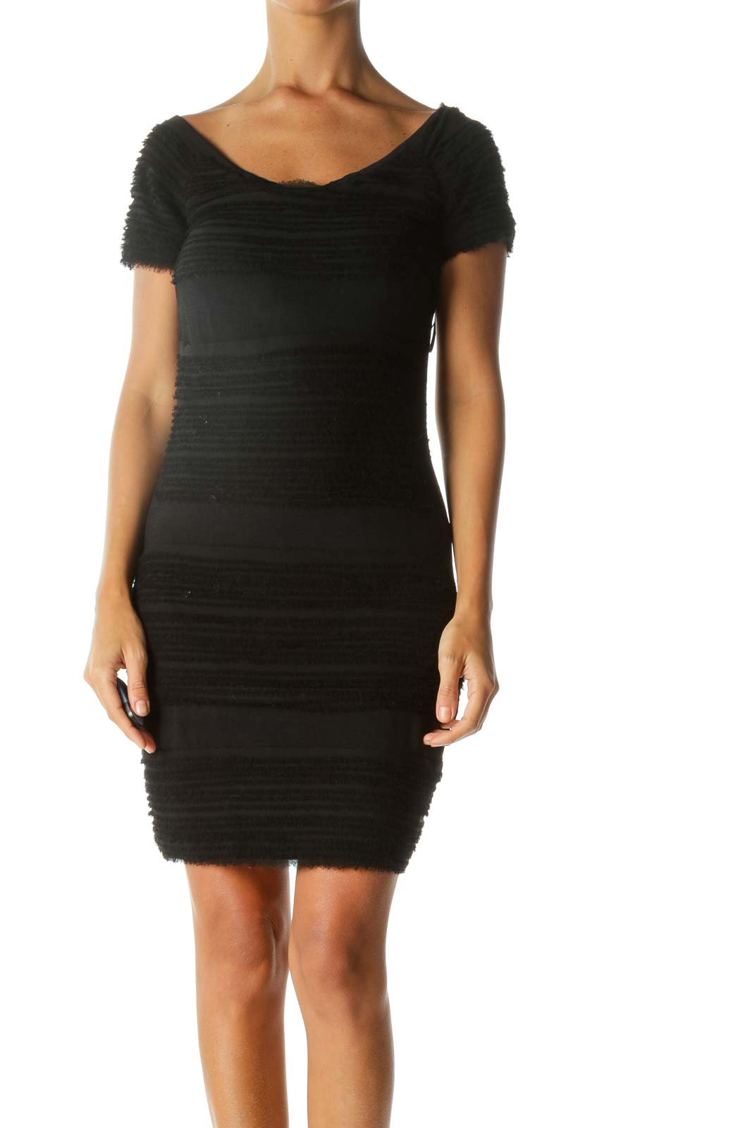 Black Textured Short Sleeve Cold-Shoulder Stretch Cocktail Dress