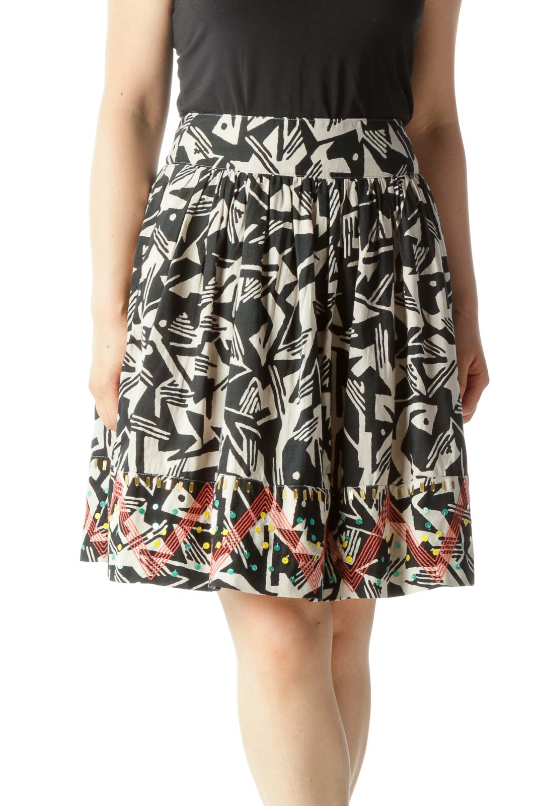 Black & Beige Abstract Print Flared Skirt with Beaded & Embroidered Hem