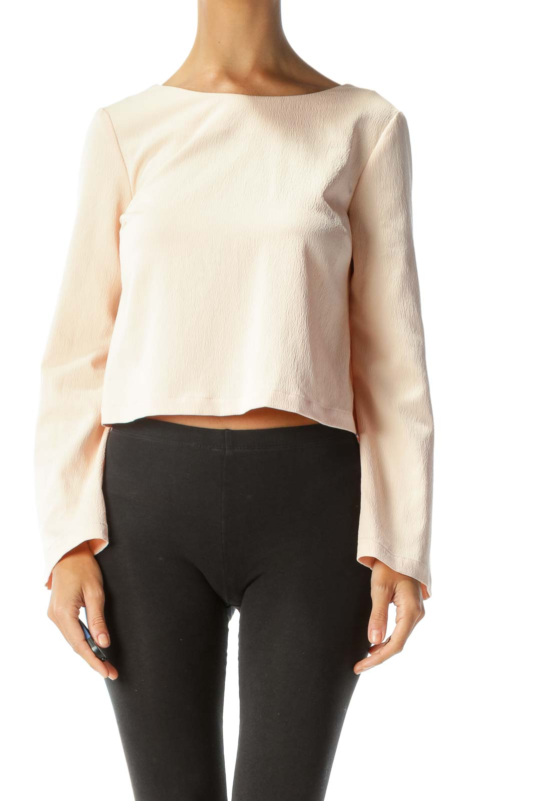 Blush Bell-Sleeve Open-Back Cropped Blouse