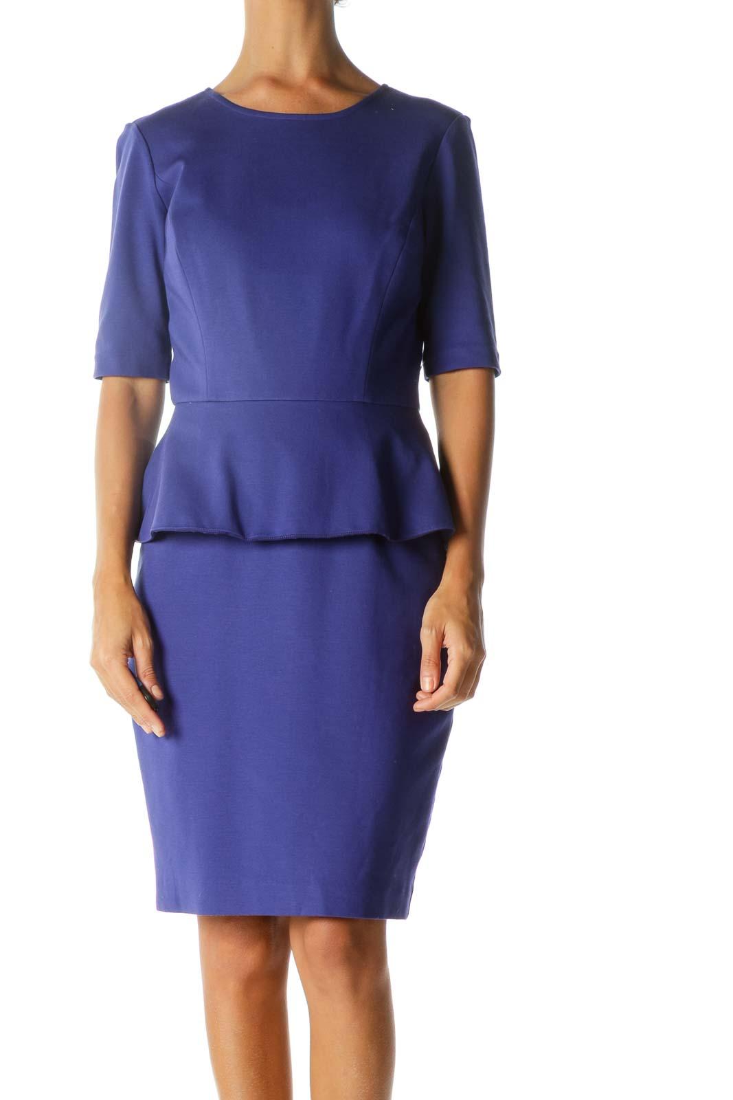 Royal Blue Short Sleeve Peplum Lace Lining Dress