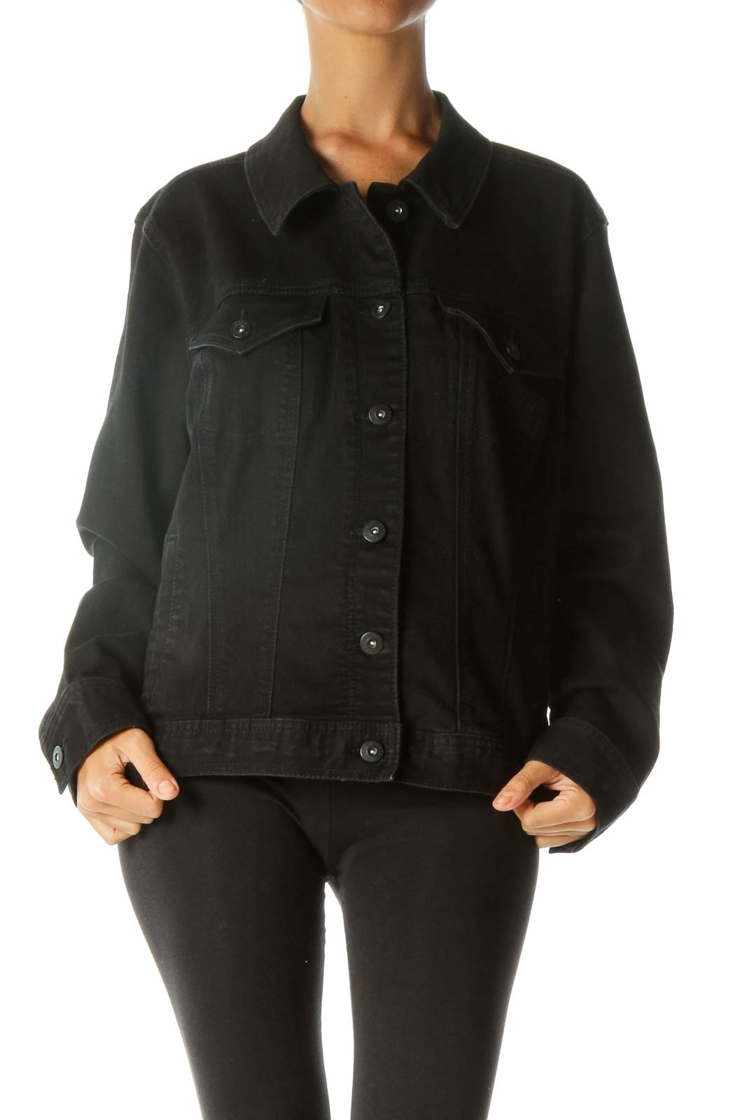 Black Buttoned Pocketed Long Sleeve Denim Look Jacket