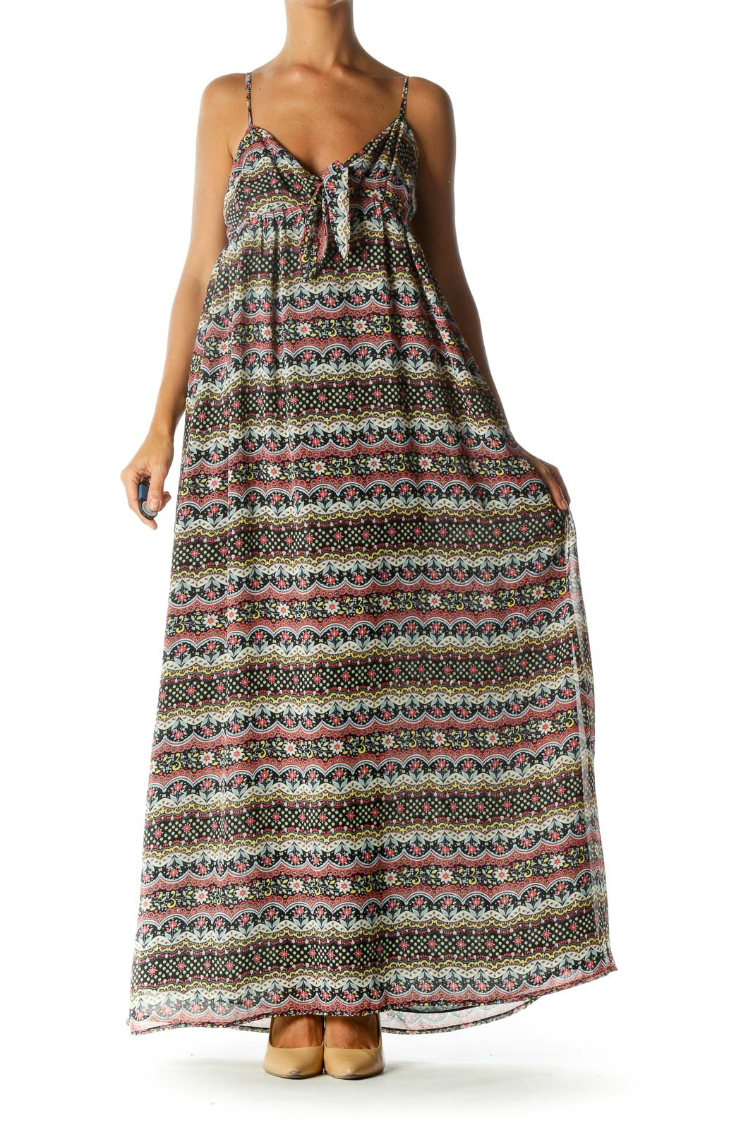 Black Pink Yellow Flower Print Cut Out Knot Spaghetti Strap Maxi Dress