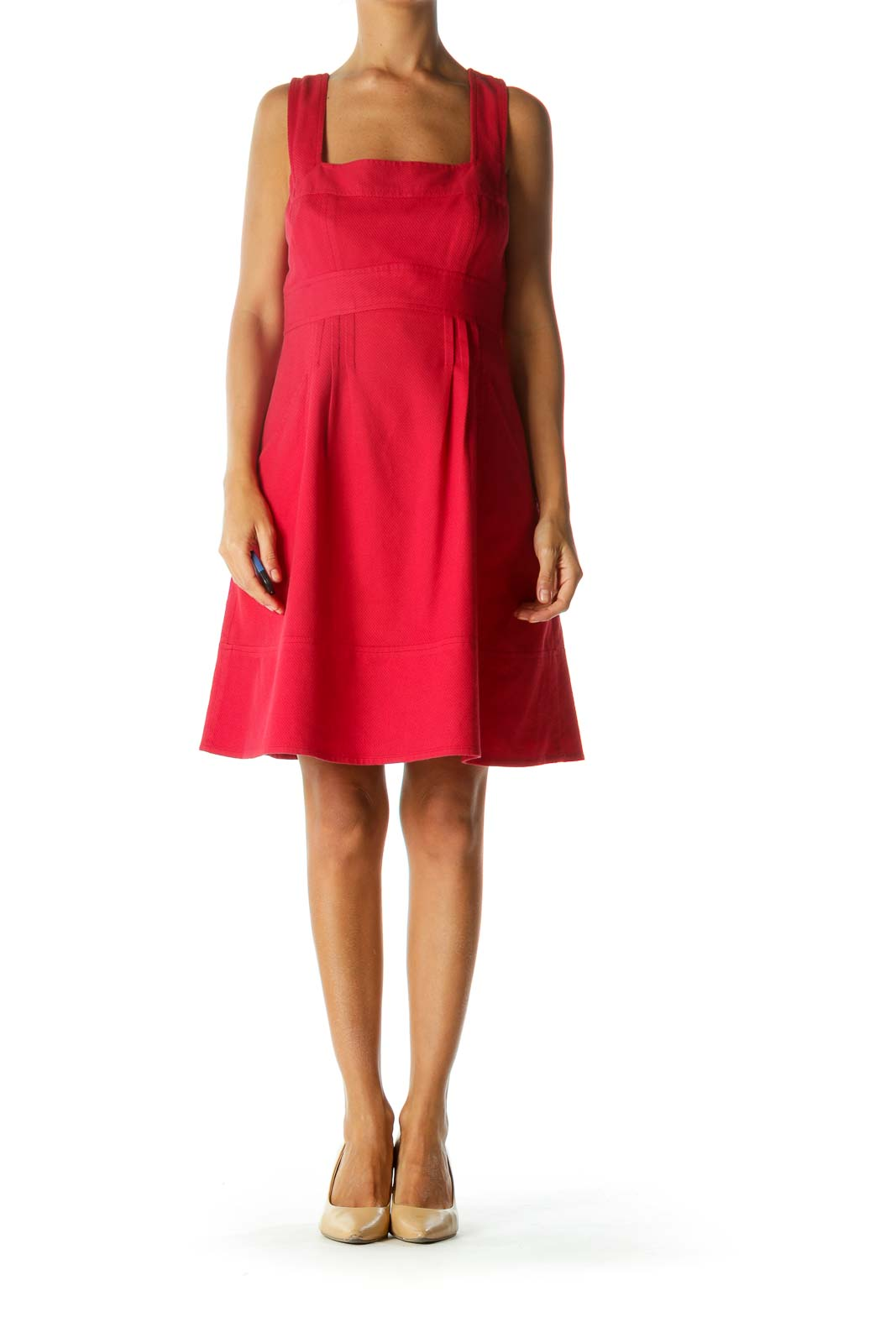 Red Square Neckline Pocketed Textured Day Dress