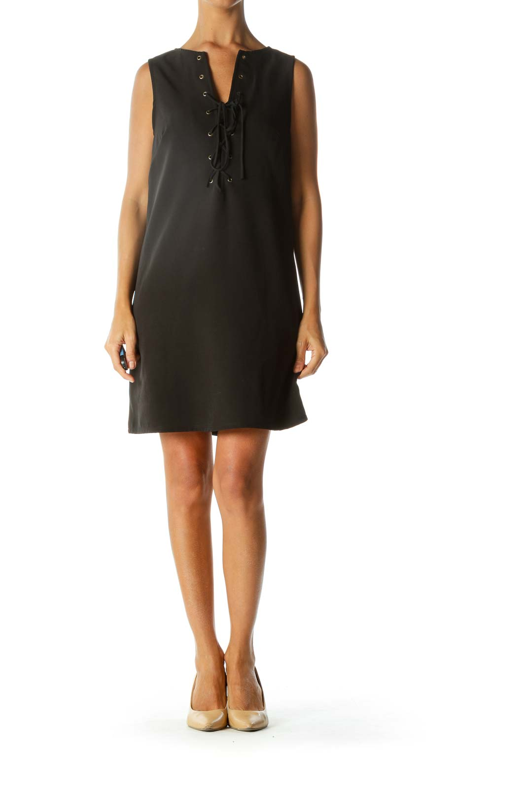 Black Crisscross Front Sleeveless Cocktail Dress