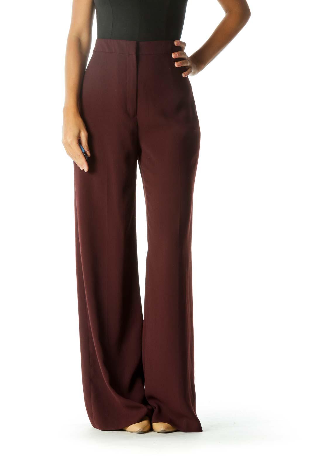 Burgundy High-Rise Flared Pants