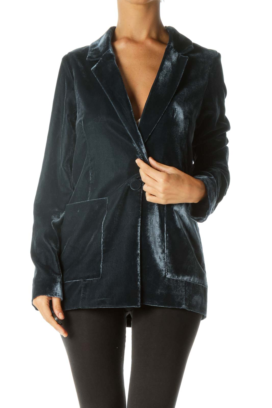 Blue Faux-Velvet Pocketed Buttoned Soft-Touch Jacket