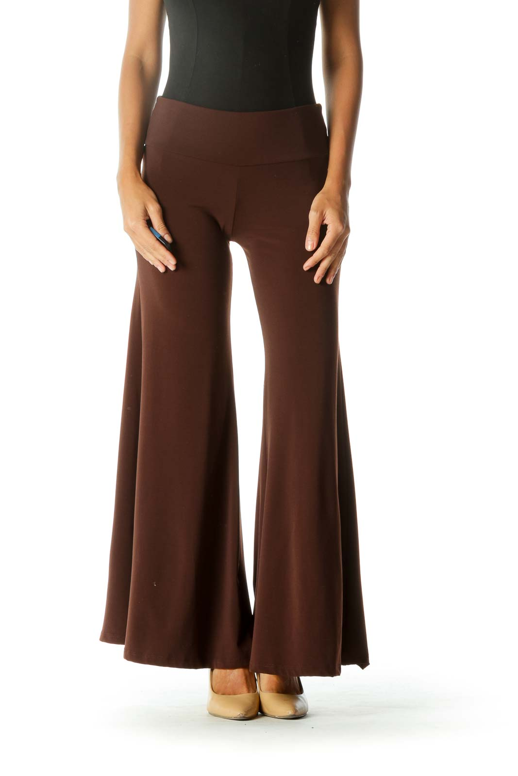 Brown Wide-Leg Cropped Pant
