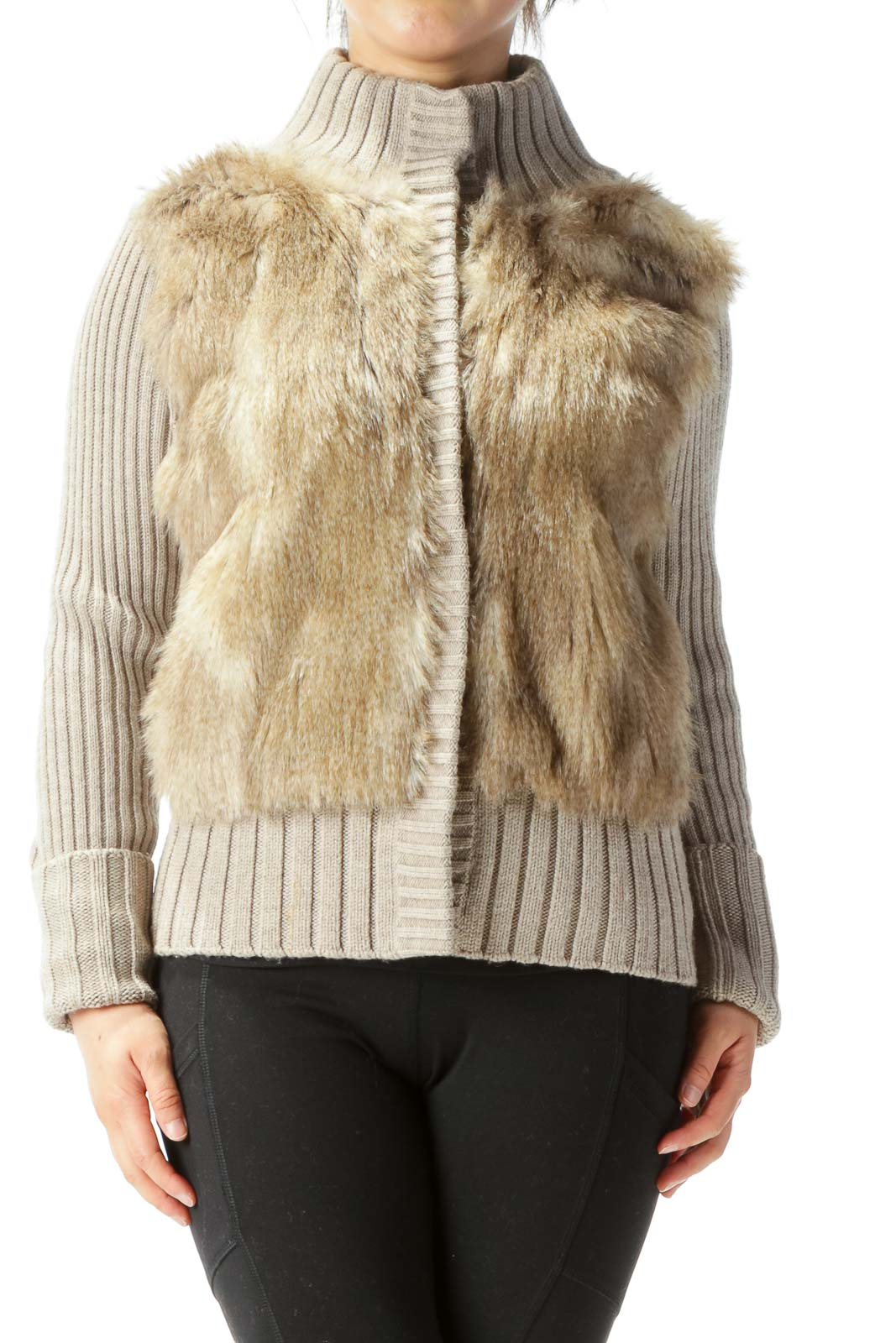 Beige Fur Ribbed Stretch Snap Buttons Long Sleeve Jacket