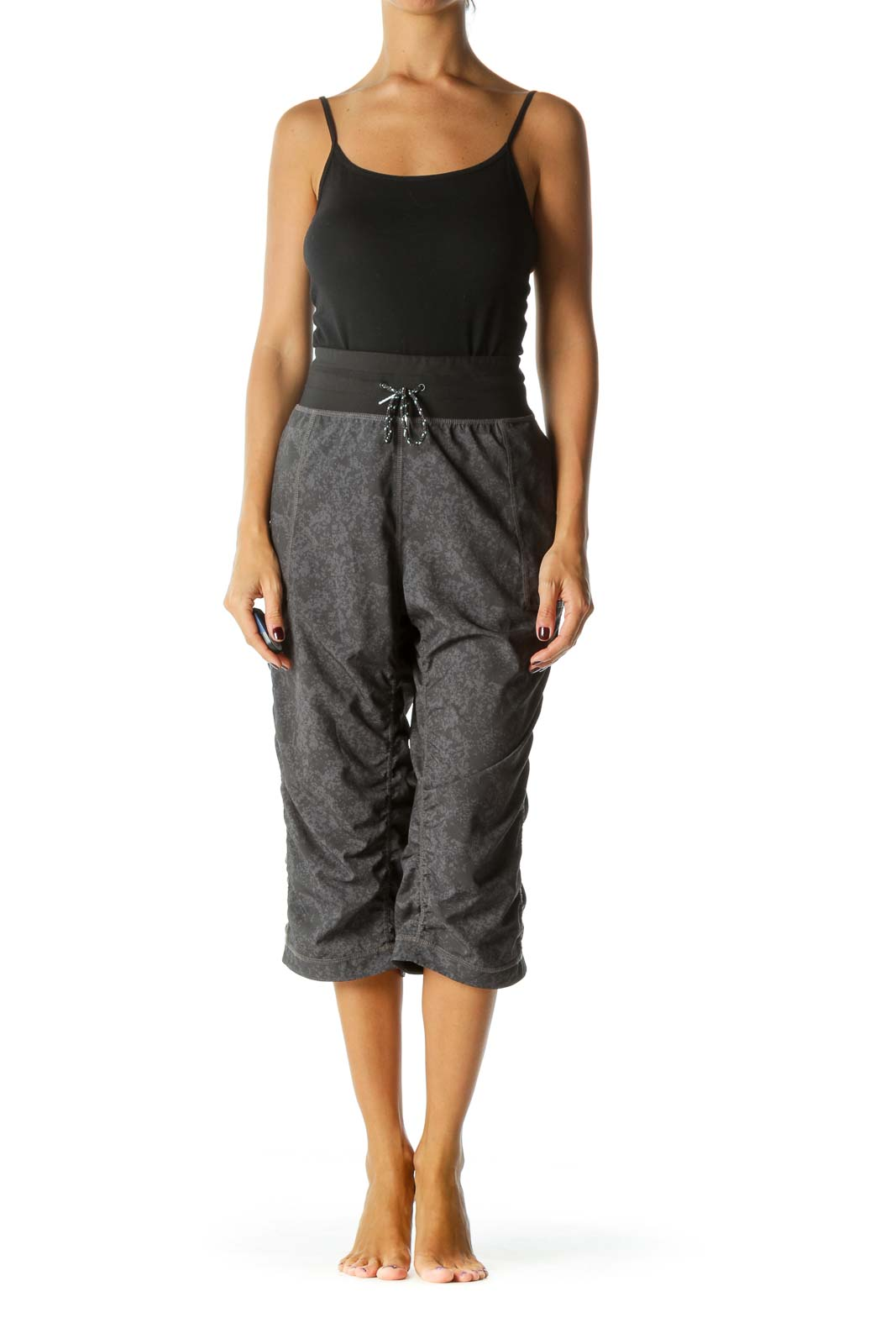 Black Gray Patterned Ruffle Sports Pants