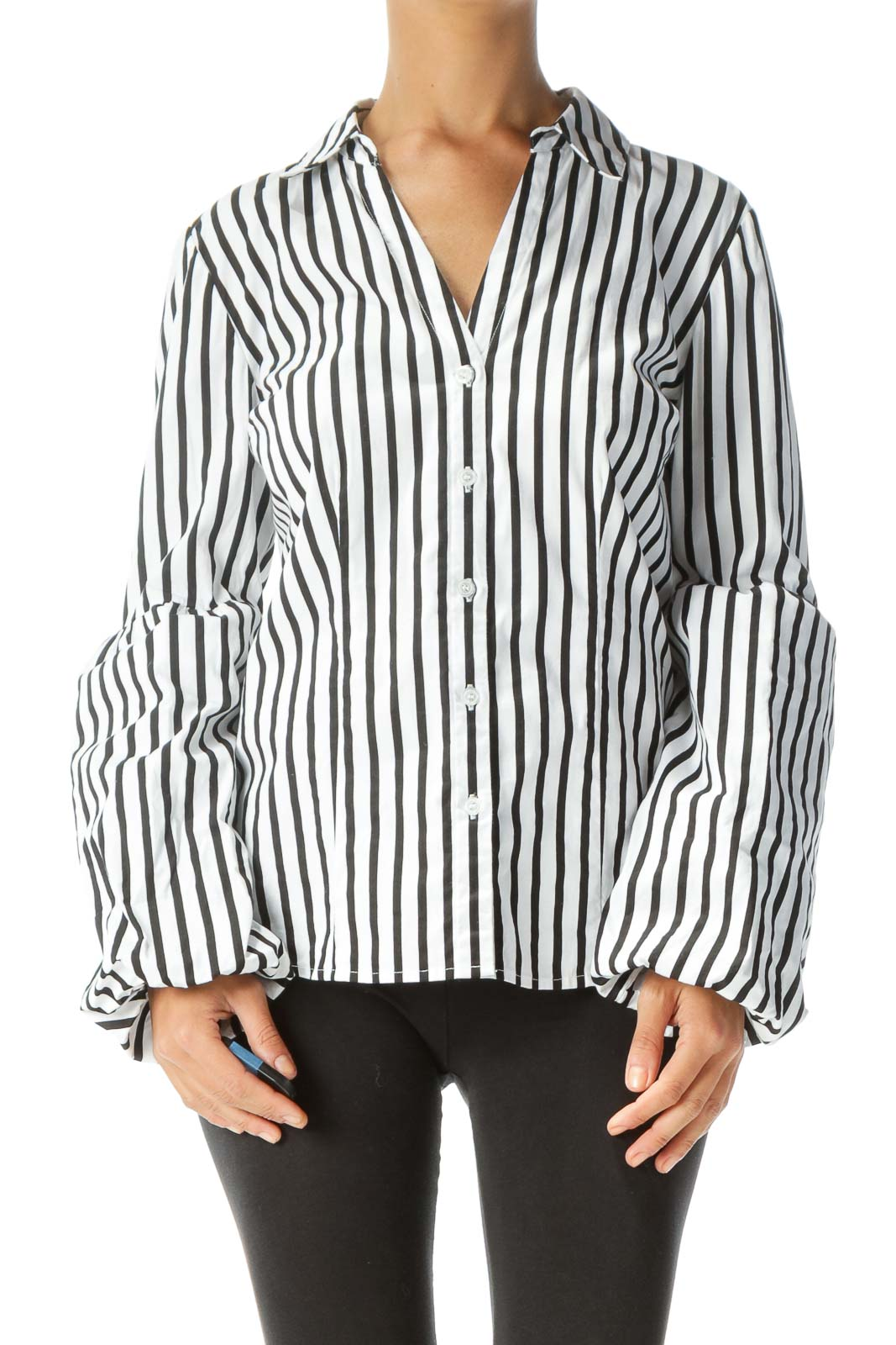 White Black Striped Shirt with Sleeve Detail
