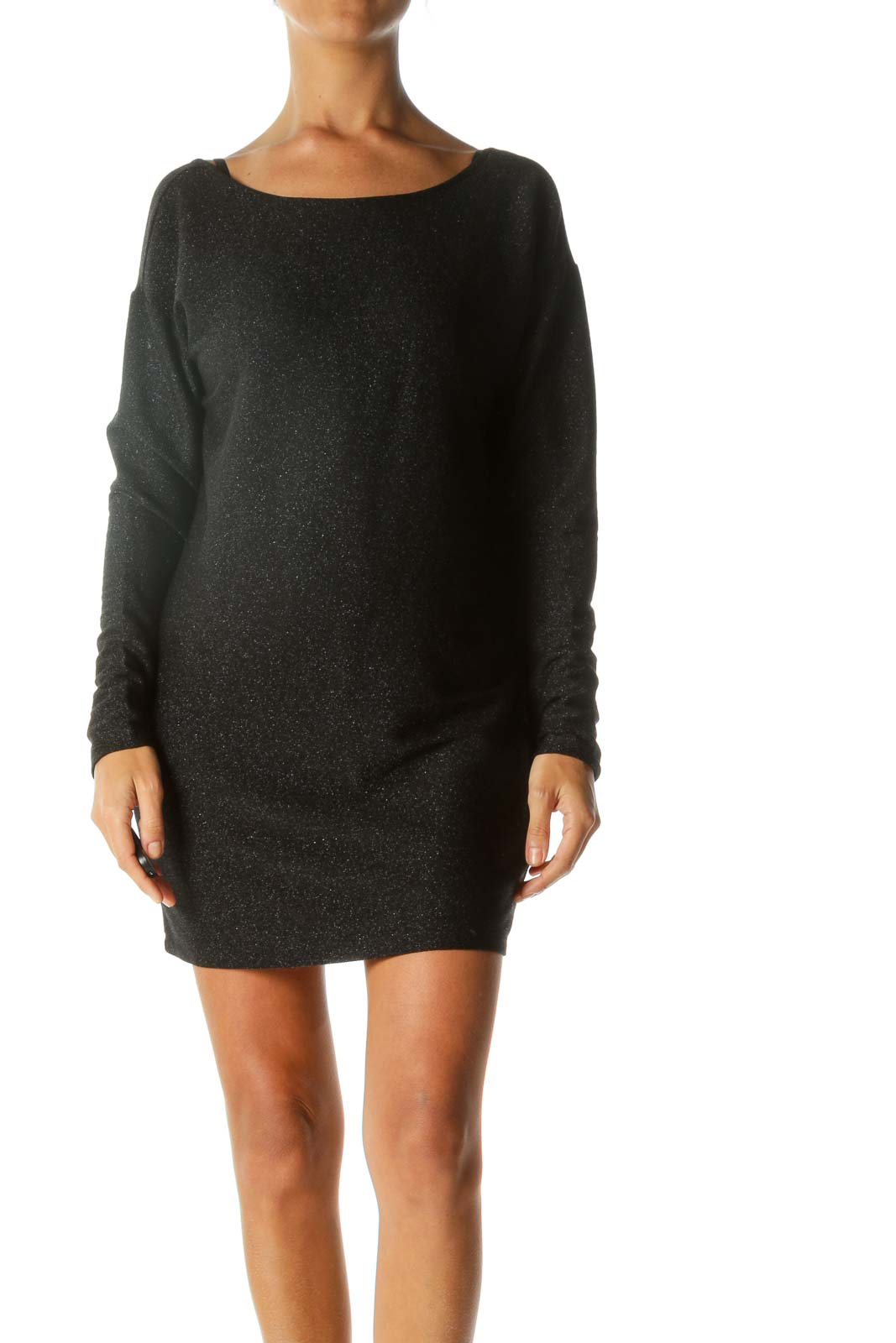 Black Shiny Metallic Back Scoop Long Sleeve Textured Cocktail Dress
