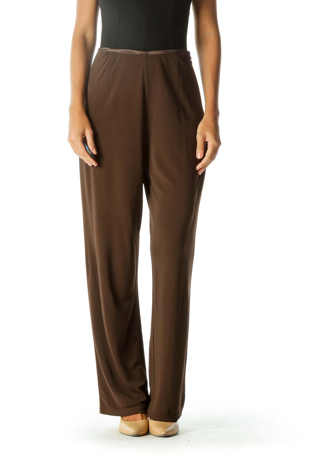 Brown High Waisted Wide-Leg Pant