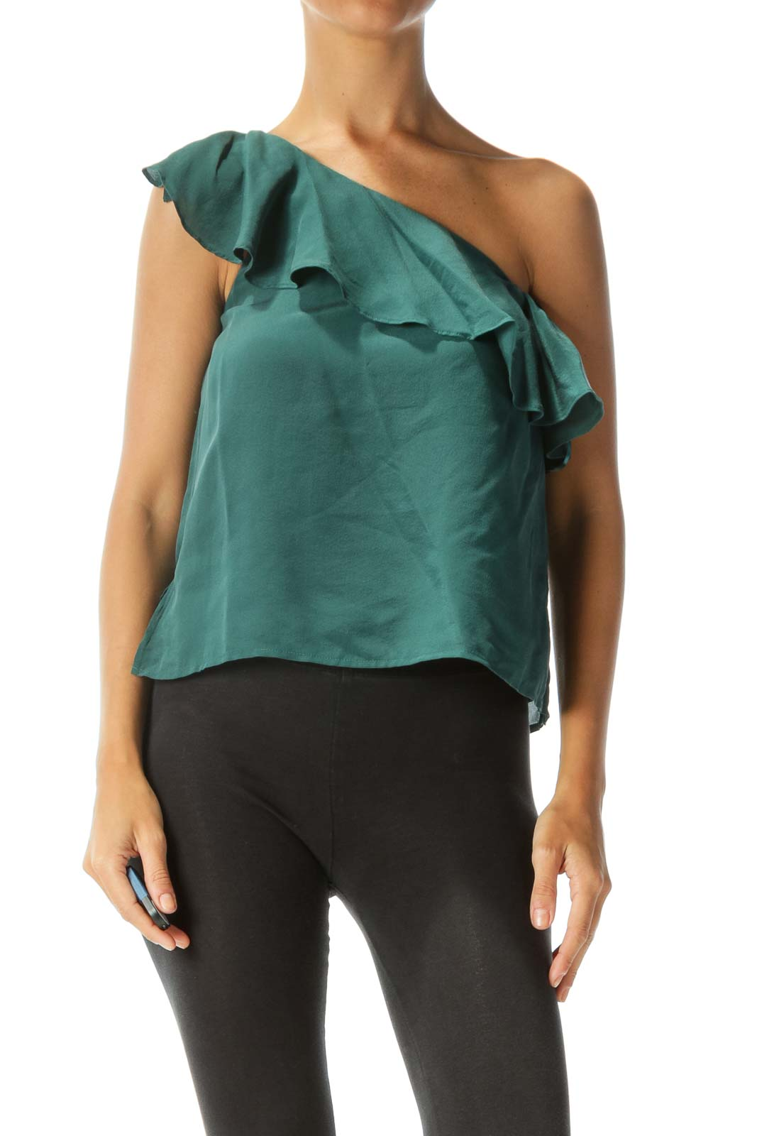 Forest Green 100% Silk One-Shoulder Ruffled Blouse