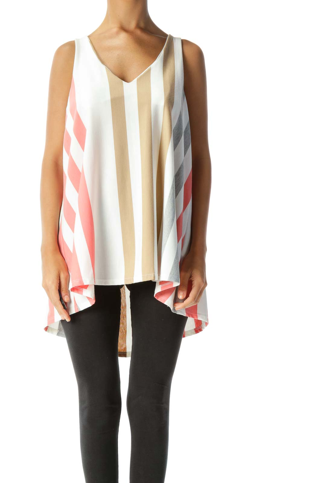 Beige Pink Striped Sleeveless Top