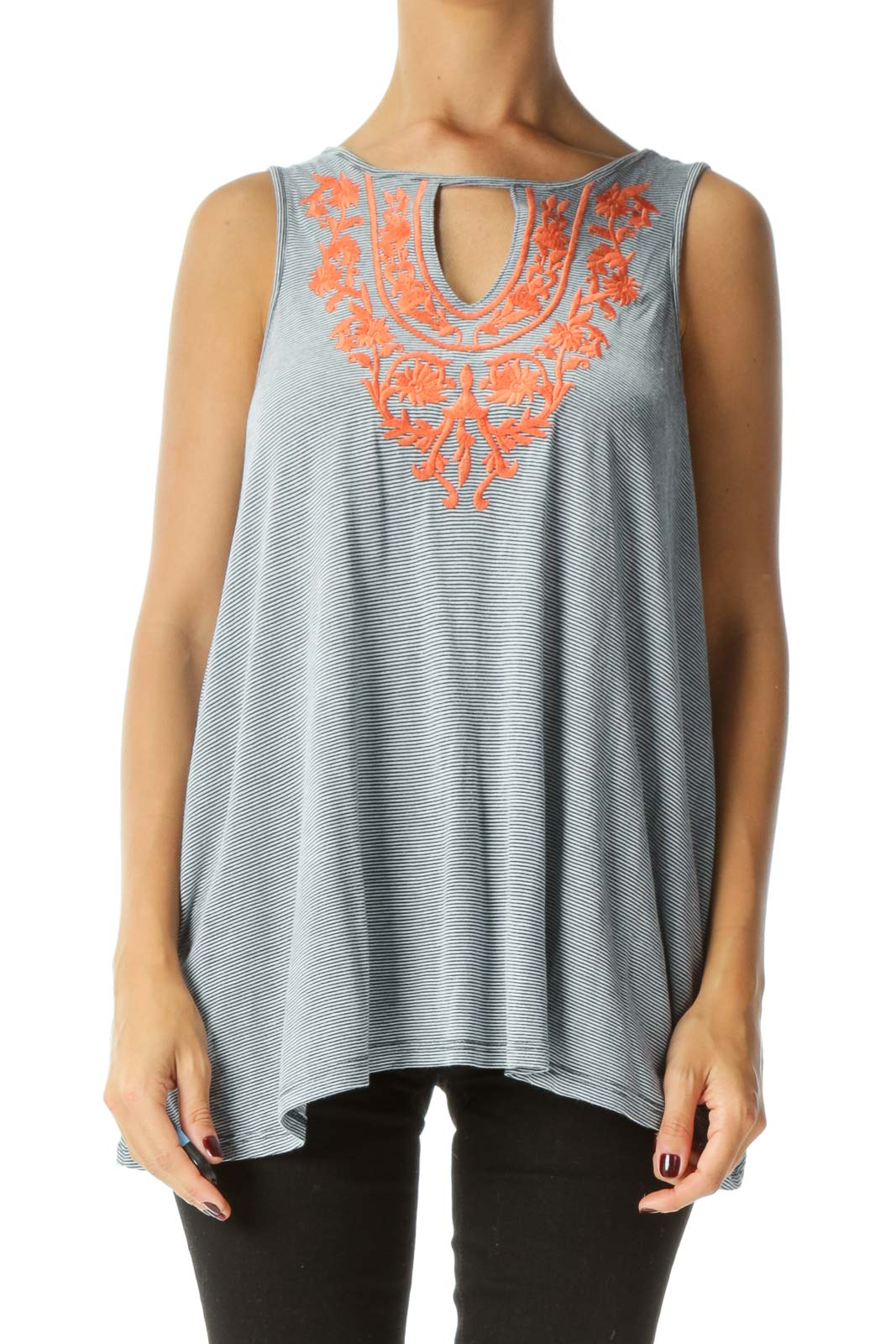 Blue White Orange Embroidery Keyhole Jersey Knit Tank Top