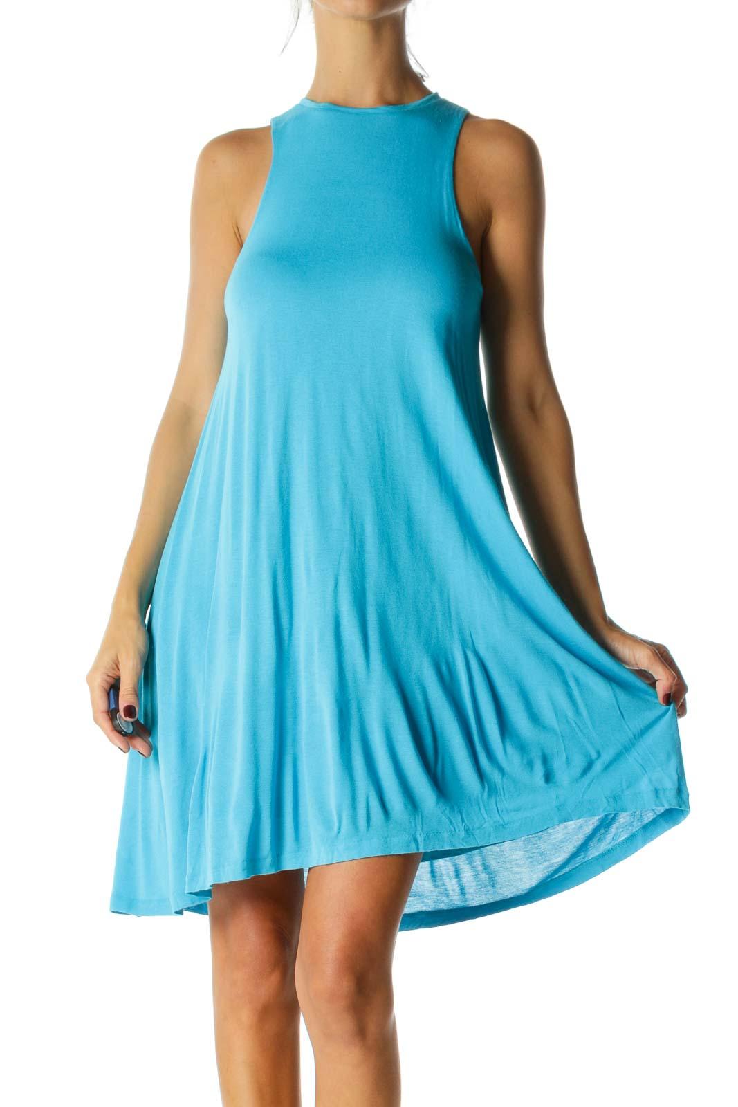 Blue High Round Neck Sleeveless Lined Jersey Knit Day Dress