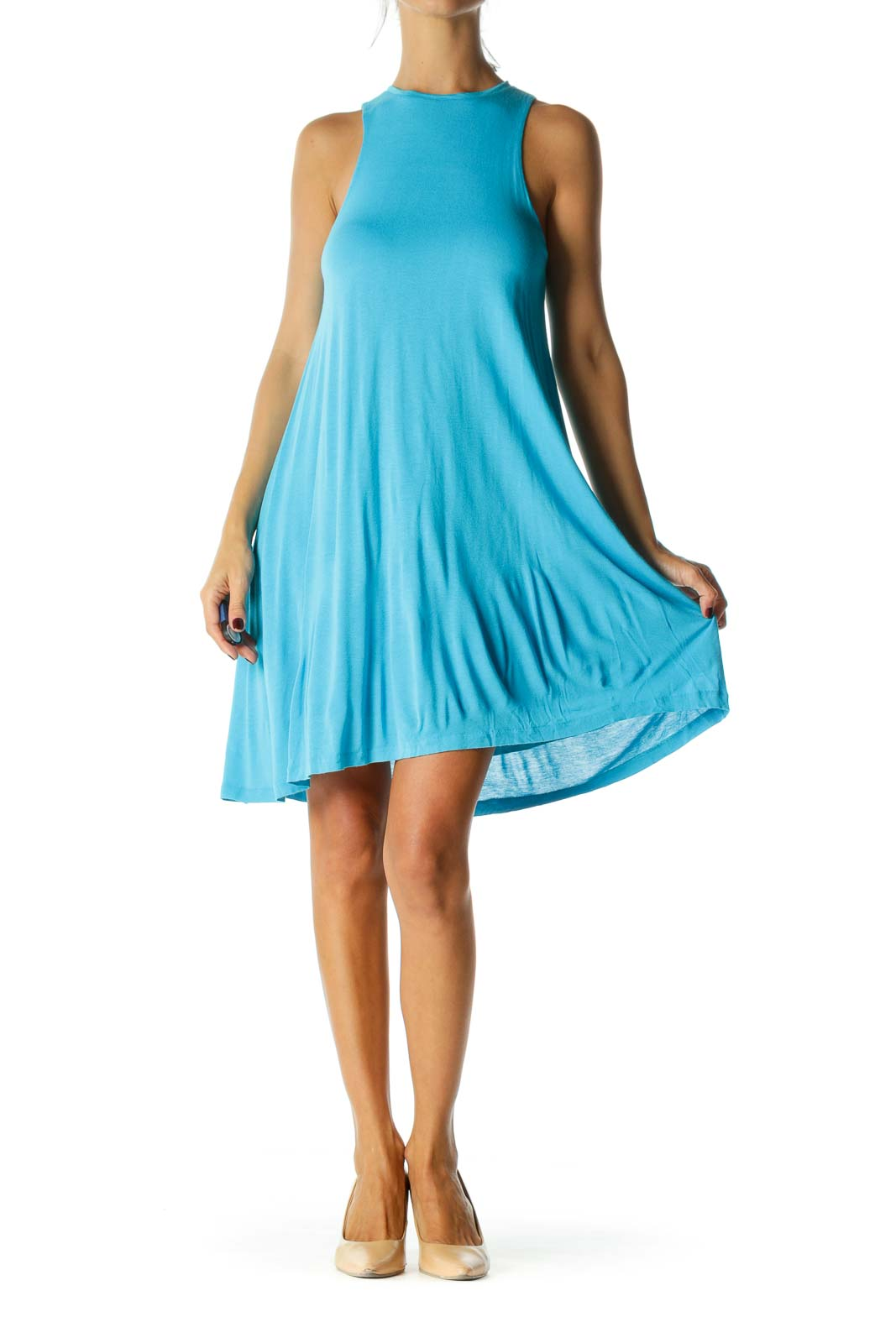 Blue High Round Neck Sleeveless Lined Jersey Knit Day Dress