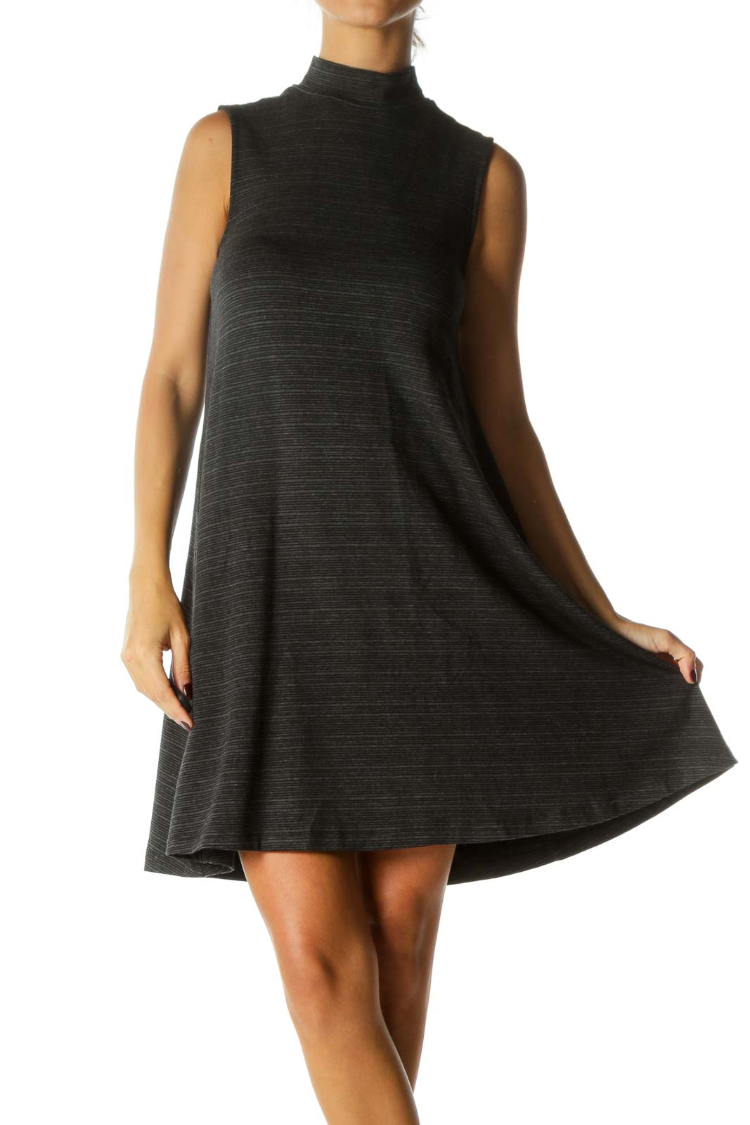 Black Gray Striped High Neck Sleeveless Flared Stretch Dress