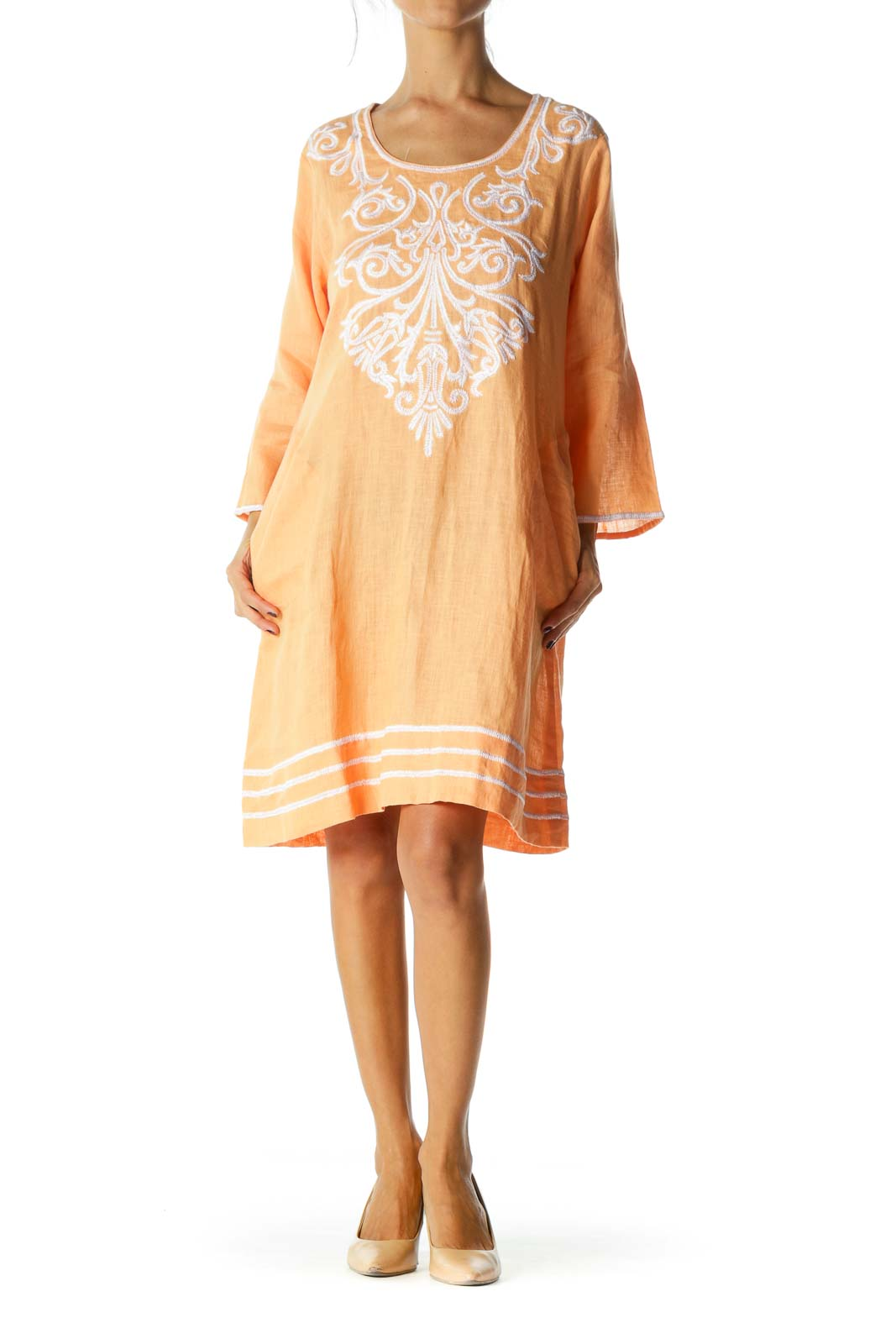 Orange Round Neck Embroidered Long Sleeve Day Dress
